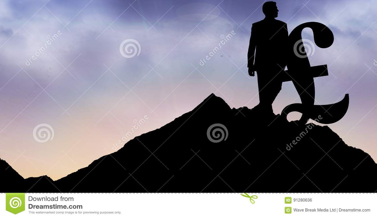 Konturaffärsman med pundtecknet på berget mot himmel