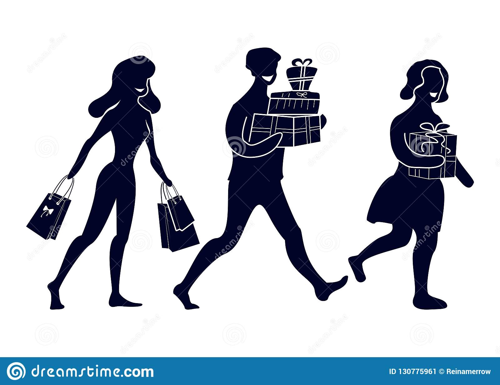 Konturer av abstrakt folk med köp och gåvor Gående lyckliga köpare