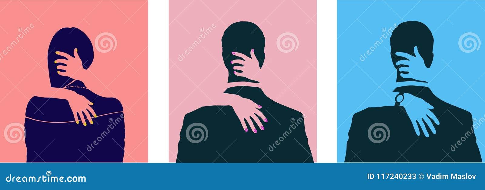 Konturer av att krama och kyssande folk Uppsättning av sexuella genusriktningssymboler Människa, heterosexualitet och homosexuali
