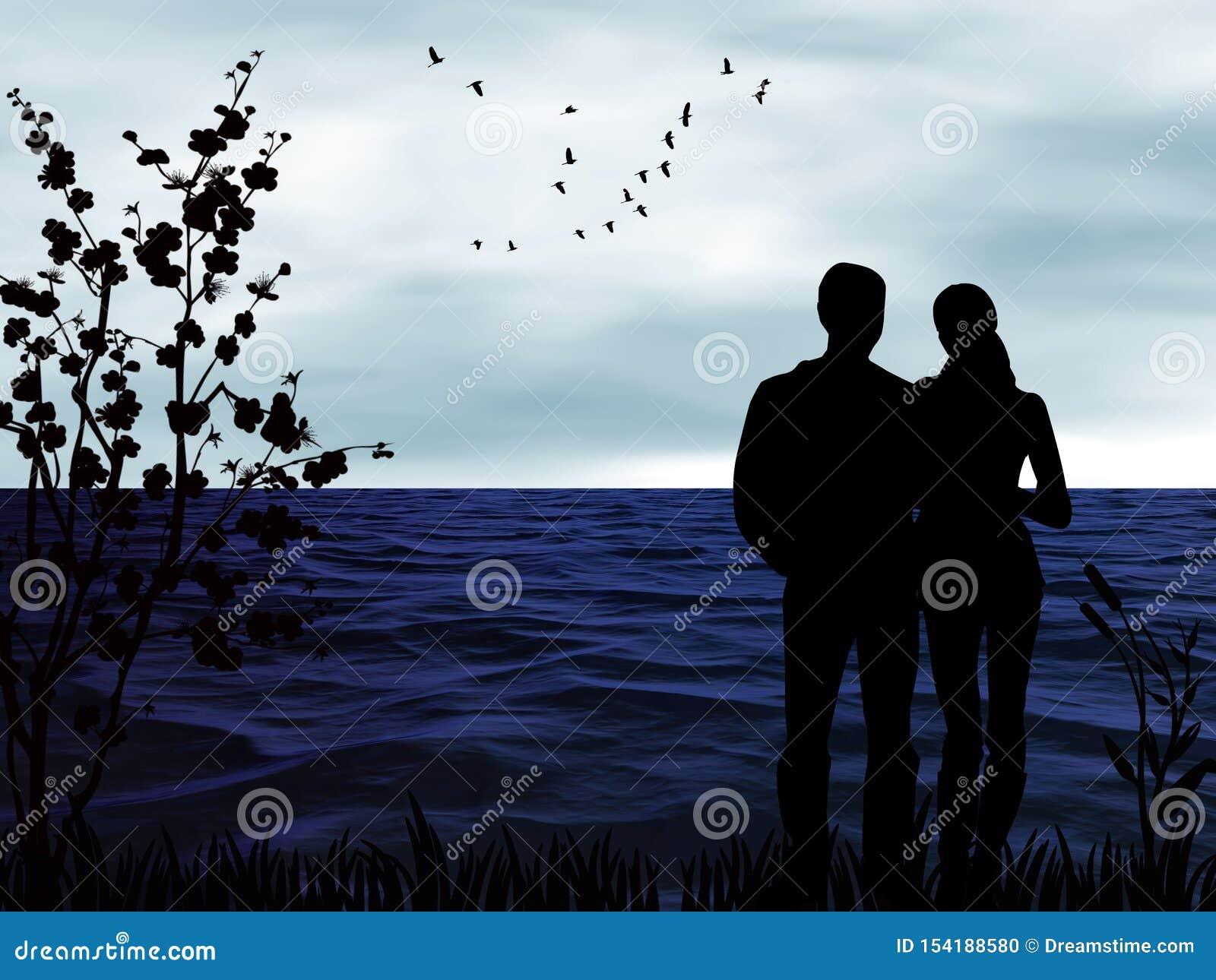 Konturer av folk på en romantisk solnedgång vid havet
