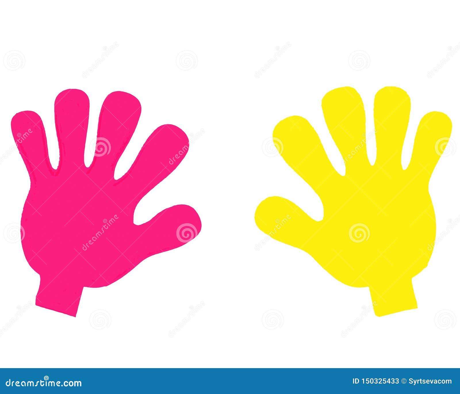 Konturer av mänskliga händer multinationality illustration med ljusa mänskliga händer