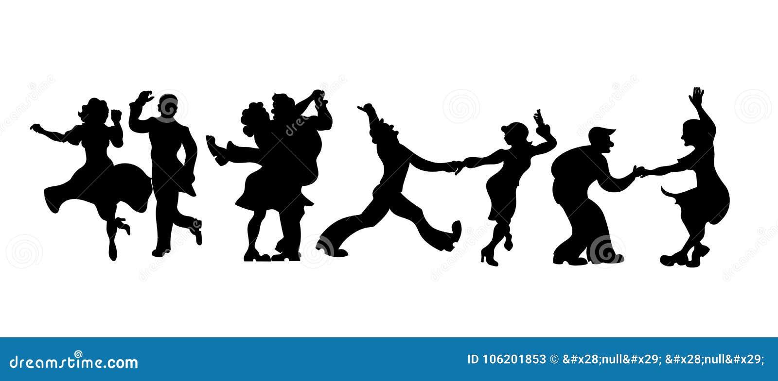 Konturer fyra par av folk som dansar charleston eller retro dans också vektor för coreldrawillustration fastställd retro isolerad