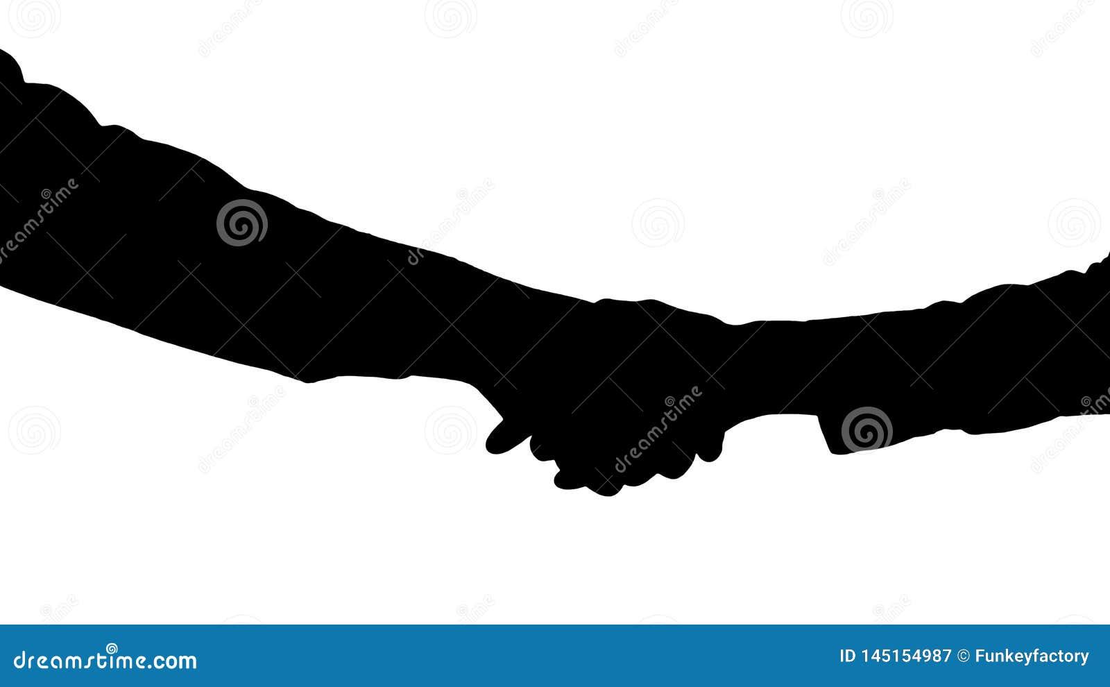 Konturhandskakning av afro- amerikanska och caucasian kvinnliga h?nder