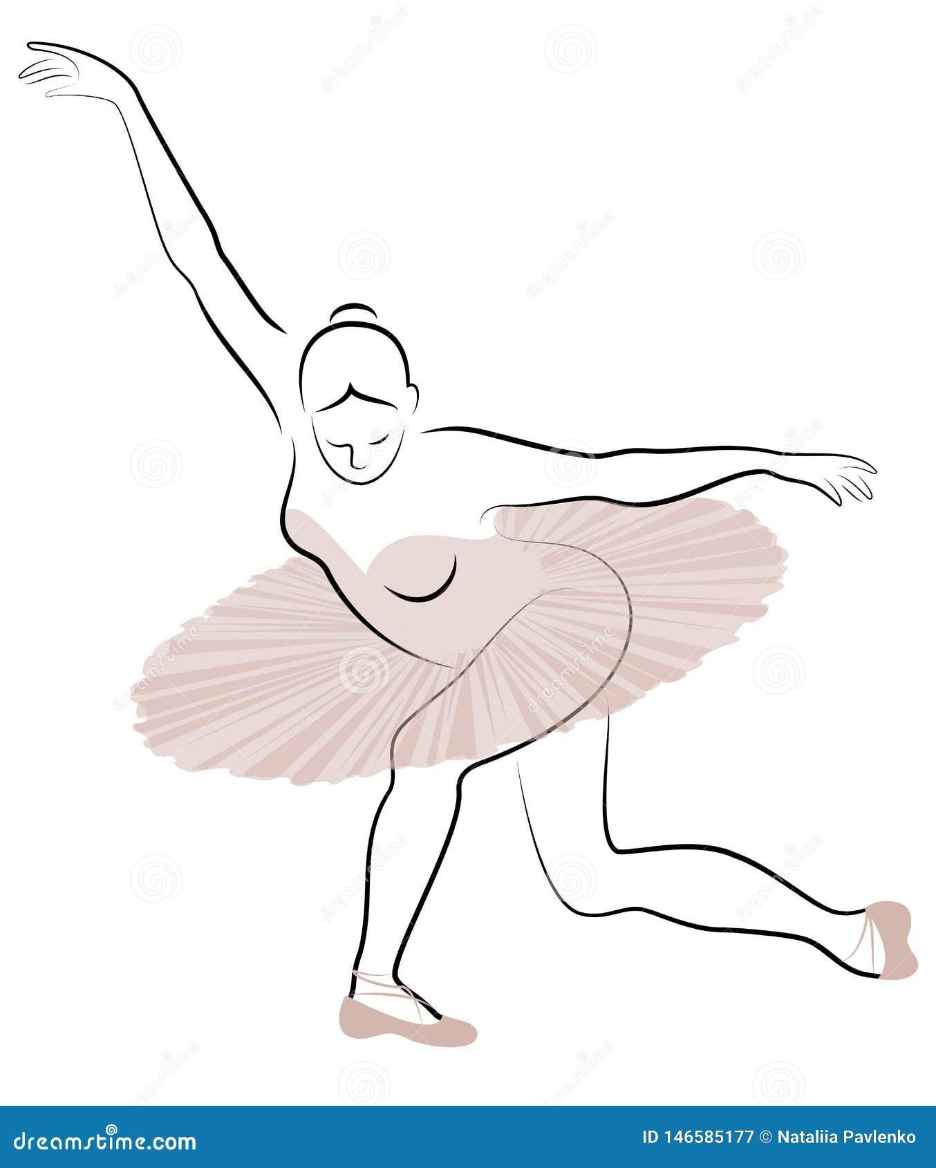 Konturn av en gullig dam, dansar hon balett Flickan har ett h?rligt diagram Kvinnan ?r en ung slank och sexig balett