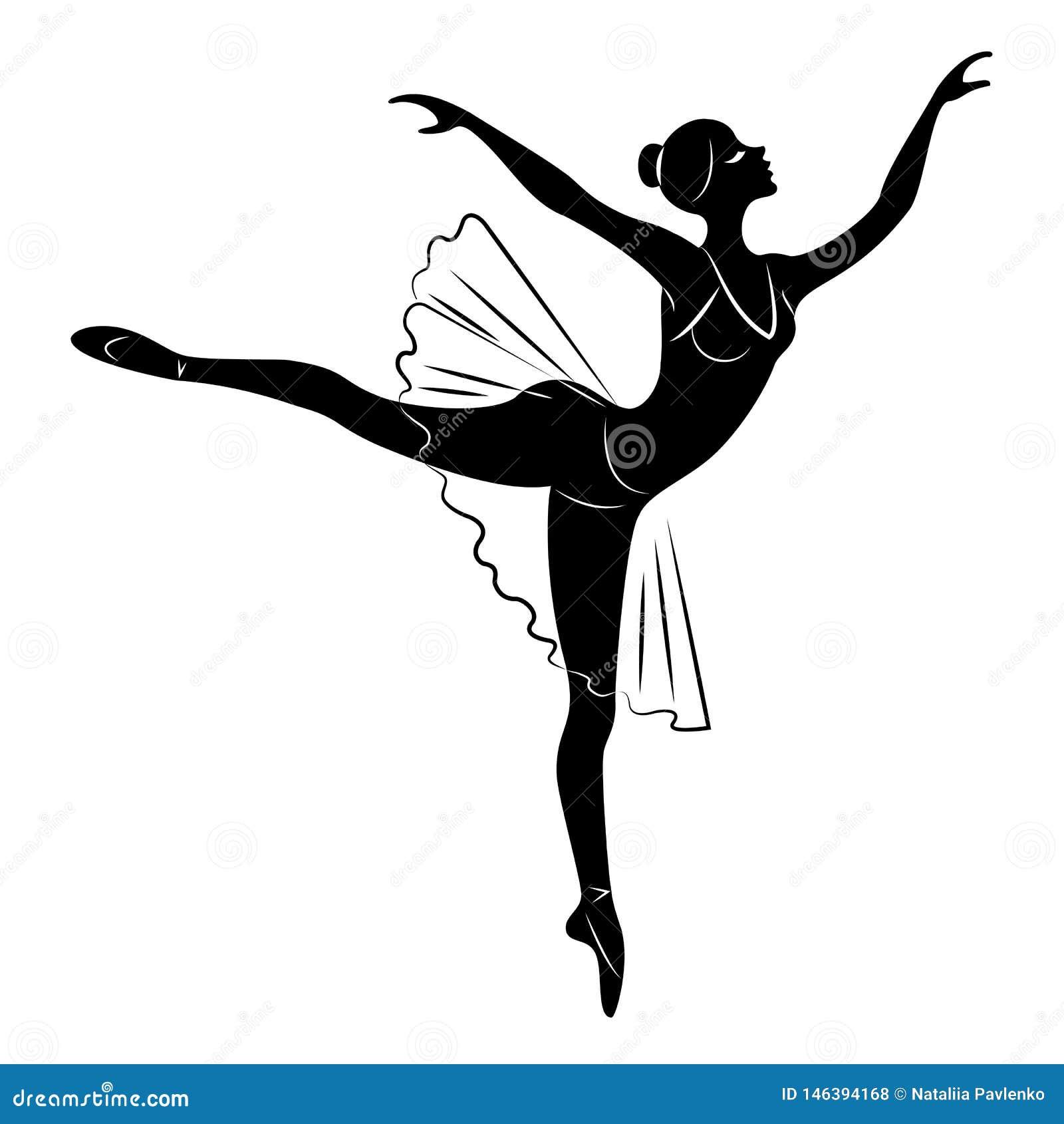Konturn av en gullig dam, dansar hon Flickan har ett h?rligt diagram Kvinnan ?r en ung sexig och slank ballerina vektor