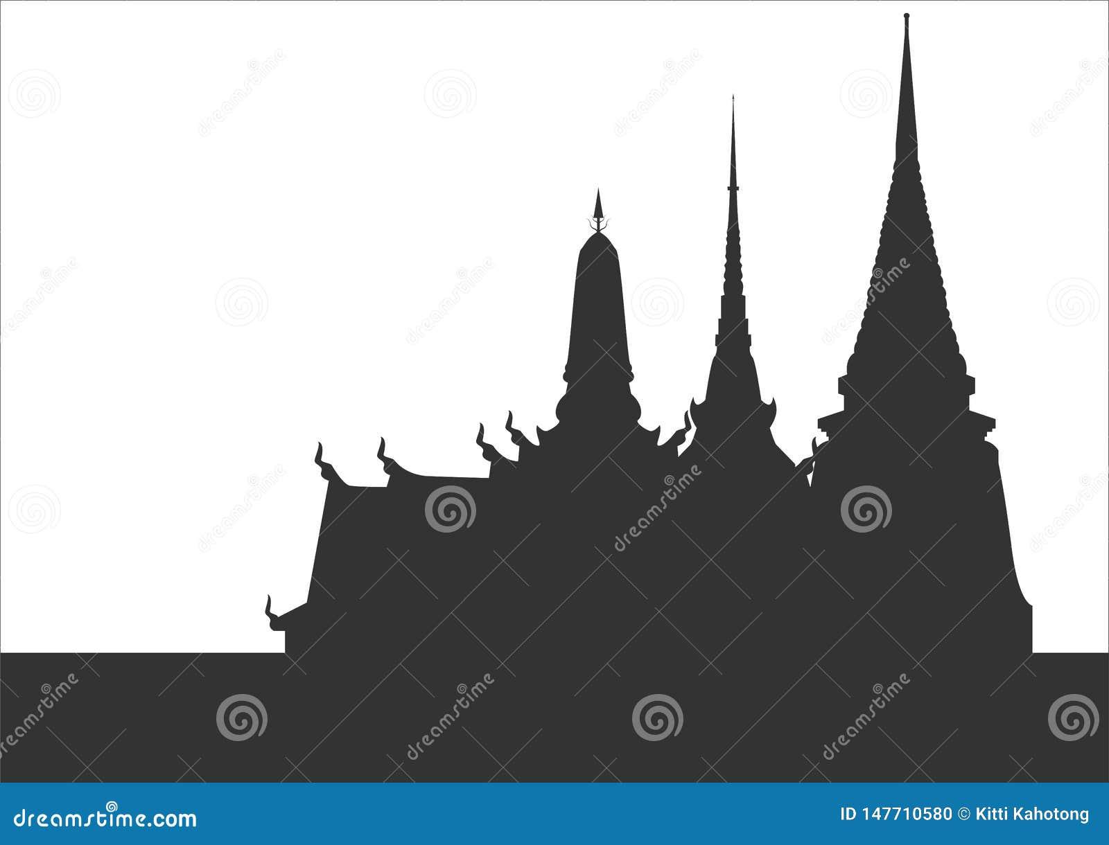 Konturn av thailändska tempel templet är unik i Thailand