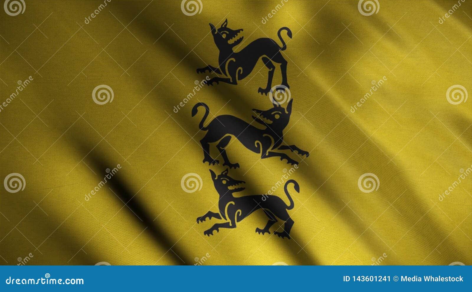 Konturn av tre ilskna hundkapplöpning som vertikalt ordnades, visade på bakgrund av framkallning av den guld- flaggan djur emblem