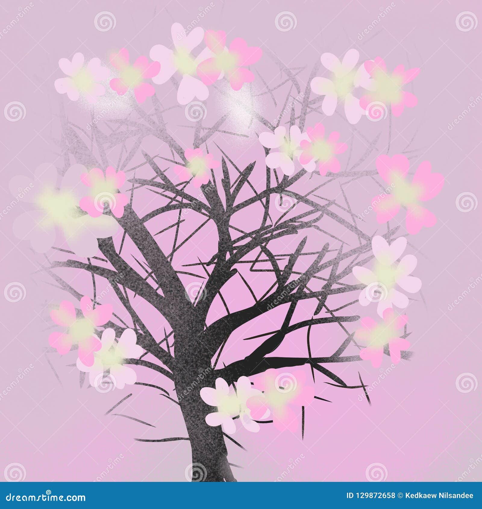 Kontursakura träd på rosa bakgrund