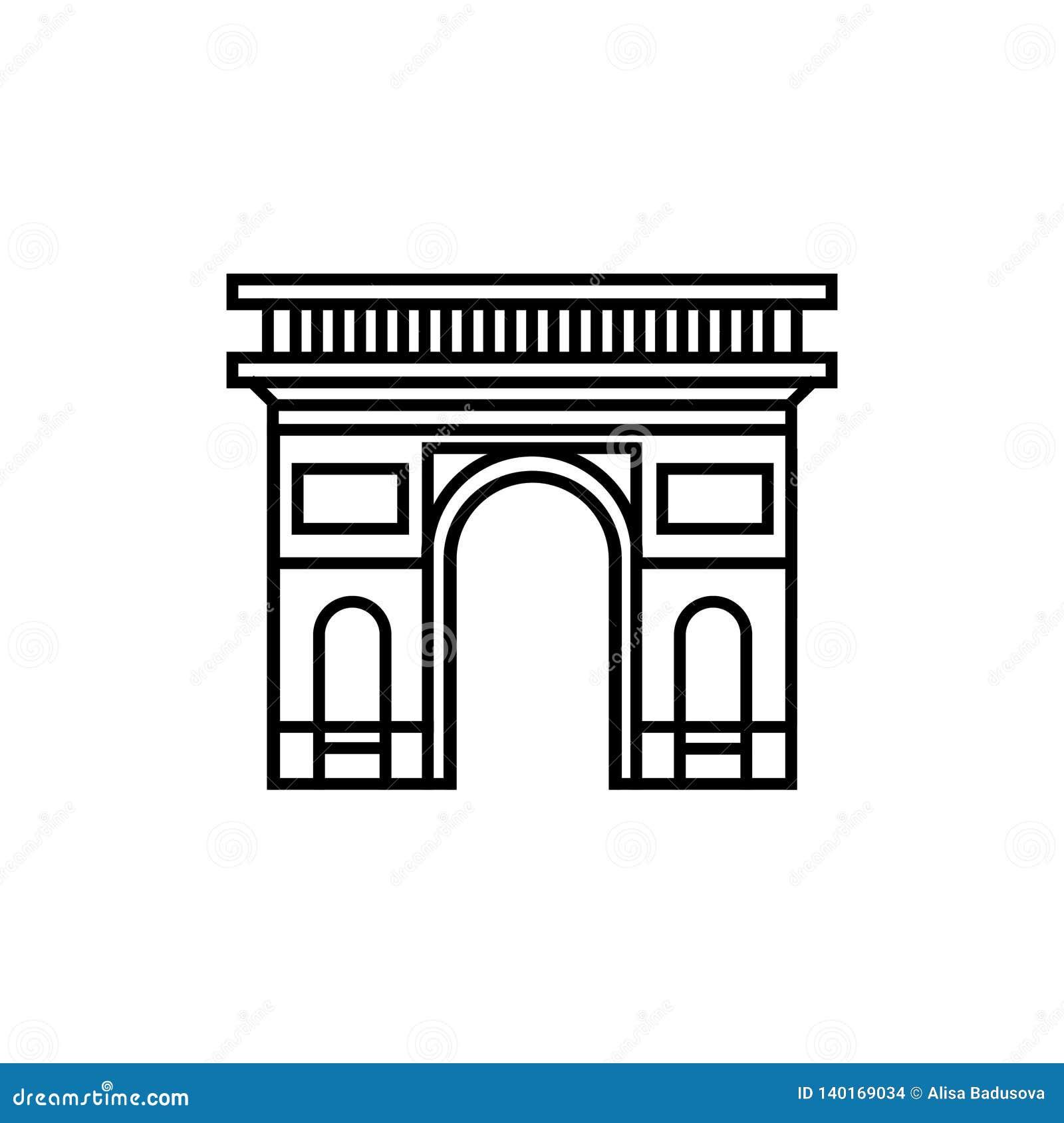 Kontursymbol av en triumf- båge i den Paris Frankrike vektorn