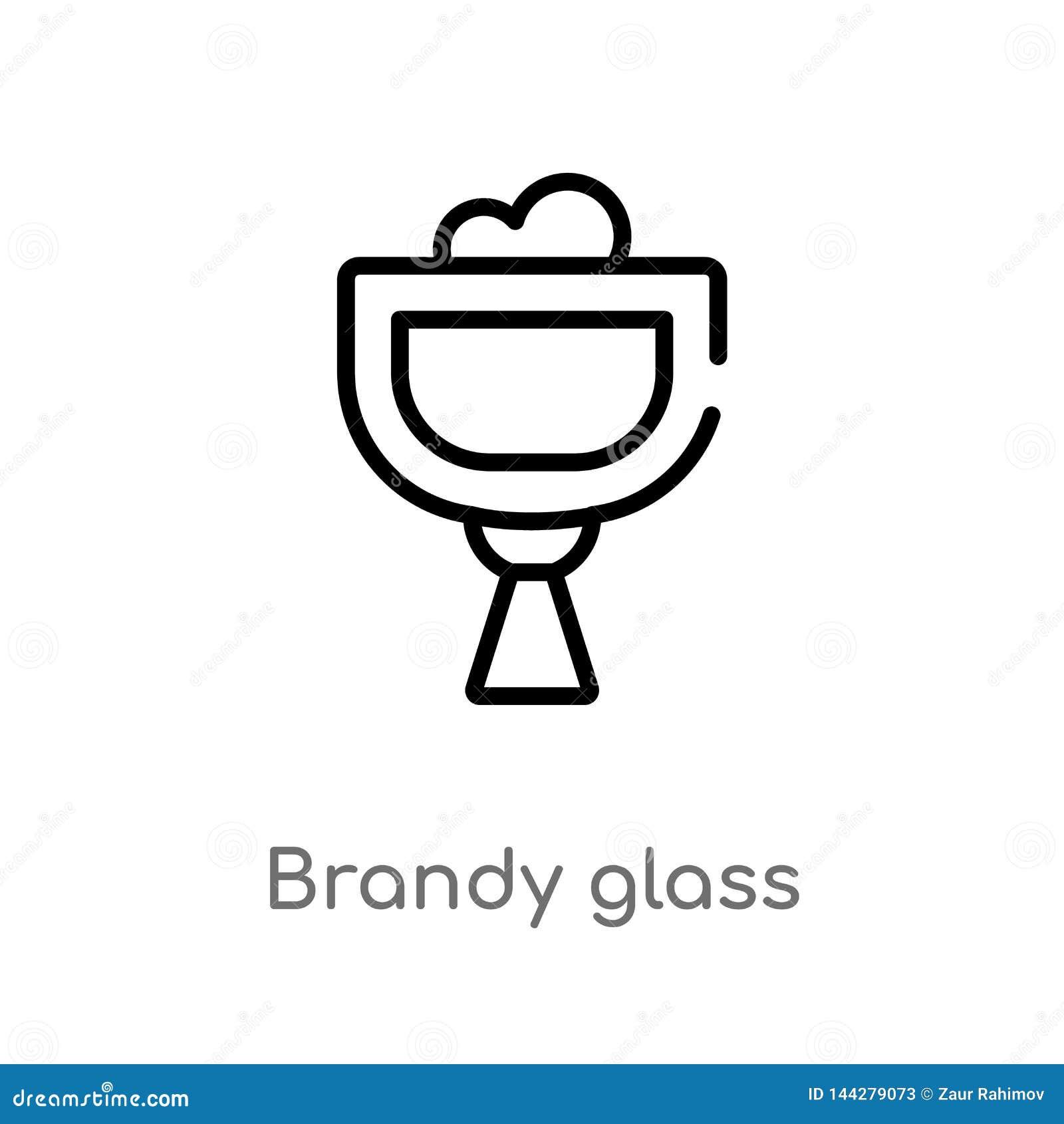 Konturu brandy szkła wektoru ikona odosobniona czarna prosta kreskowego elementu ilustracja od napoju pojęcia Editable wektorowy