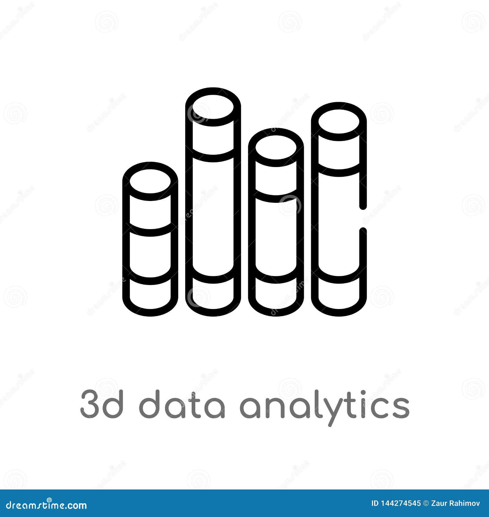 Konturu 3d dane analityka zakazują graficzną wektorową ikonę odosobniona czarna prosta kreskowego elementu ilustracja od biznesow