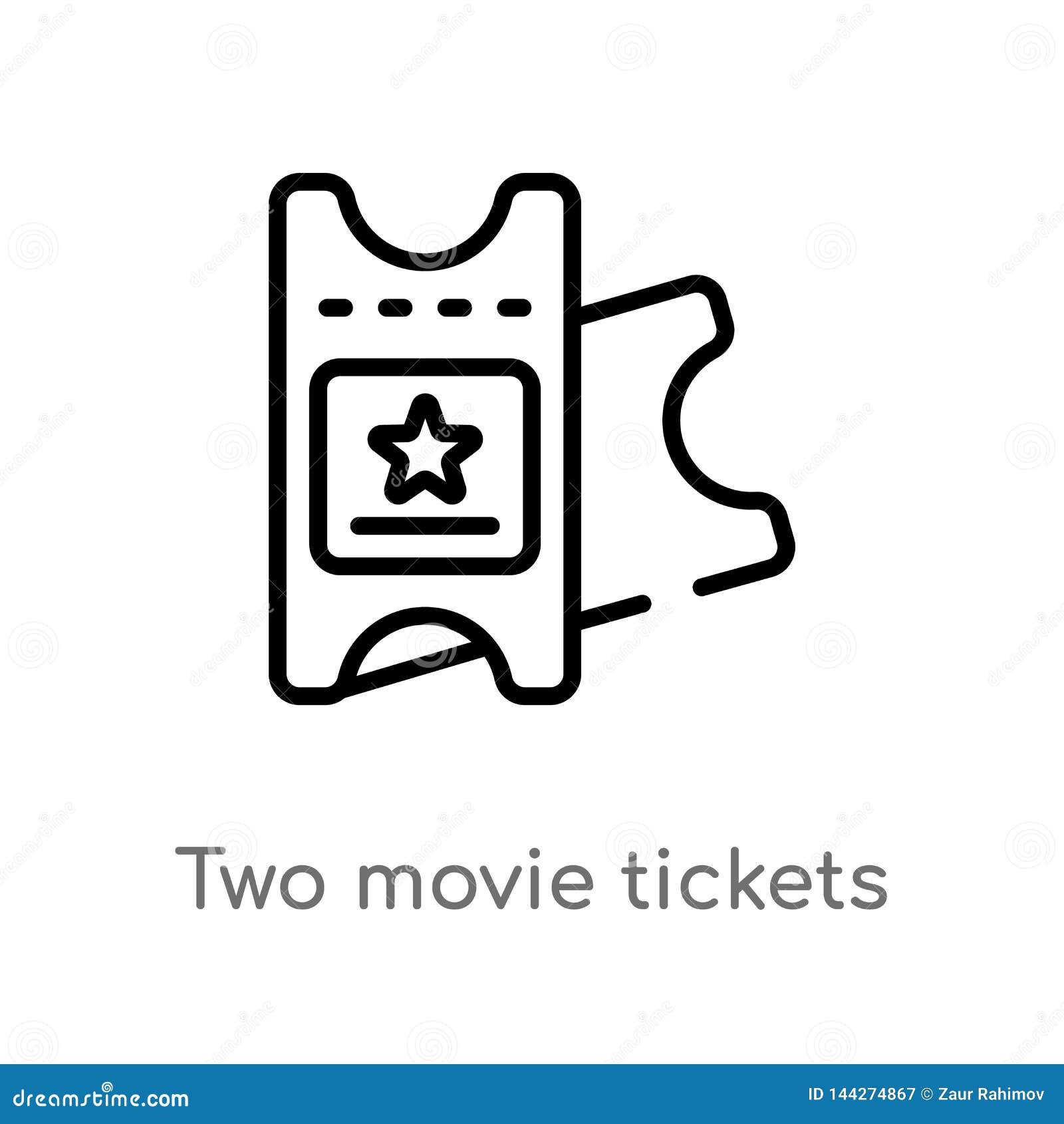 Konturu dwa filmu bilet?w wektoru ikona odosobniona czarna prosta kreskowego elementu ilustracja od kinowego poj?cia Editable wek
