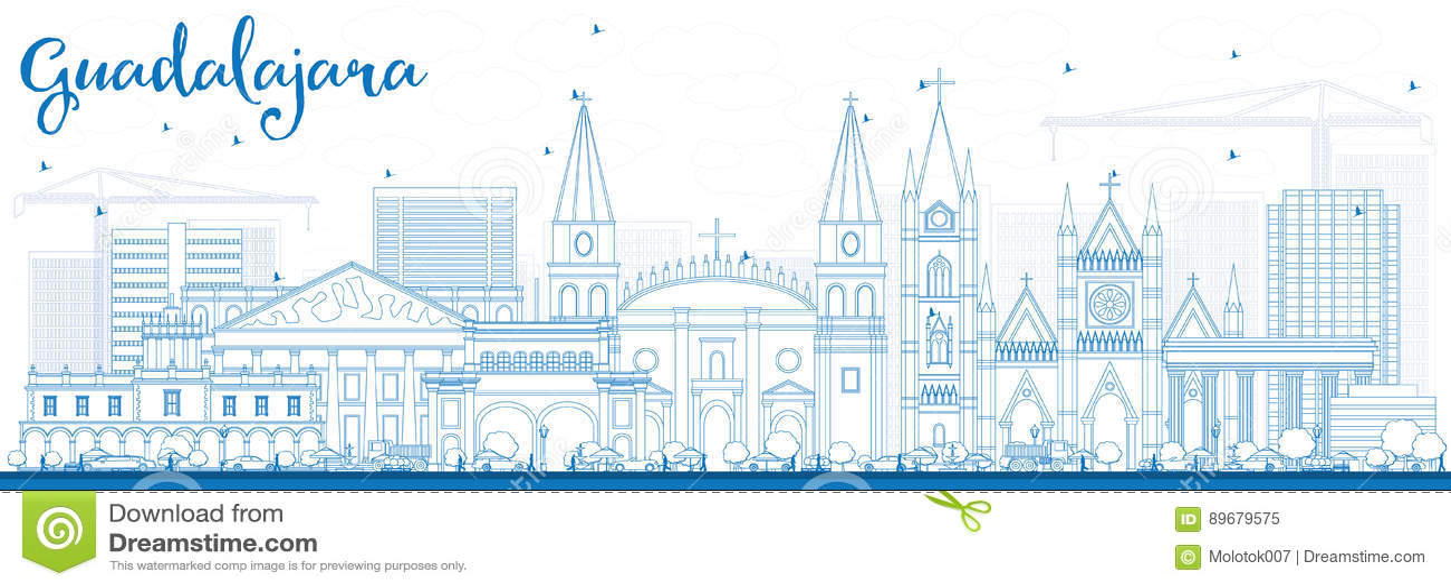 Konturu Guadalajara linia horyzontu z Błękitnymi budynkami