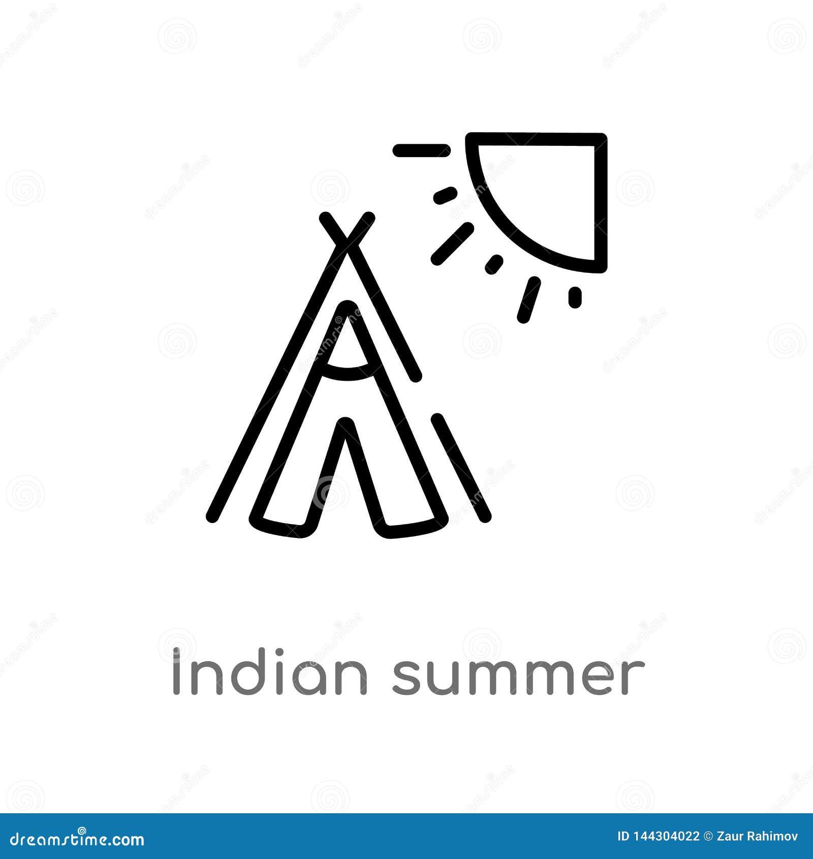 Konturu indyjskiego lata wektoru ikona odosobniona czarna prosta kreskowego elementu ilustracja od pogodowego pojęcia Editable we