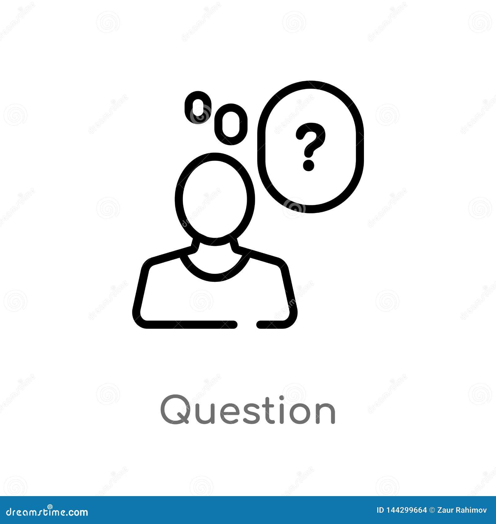 Konturu pytania wektoru ikona odosobniona czarna prosta kreskowego elementu ilustracja od obsługi klientej pojęcia Editable wekto