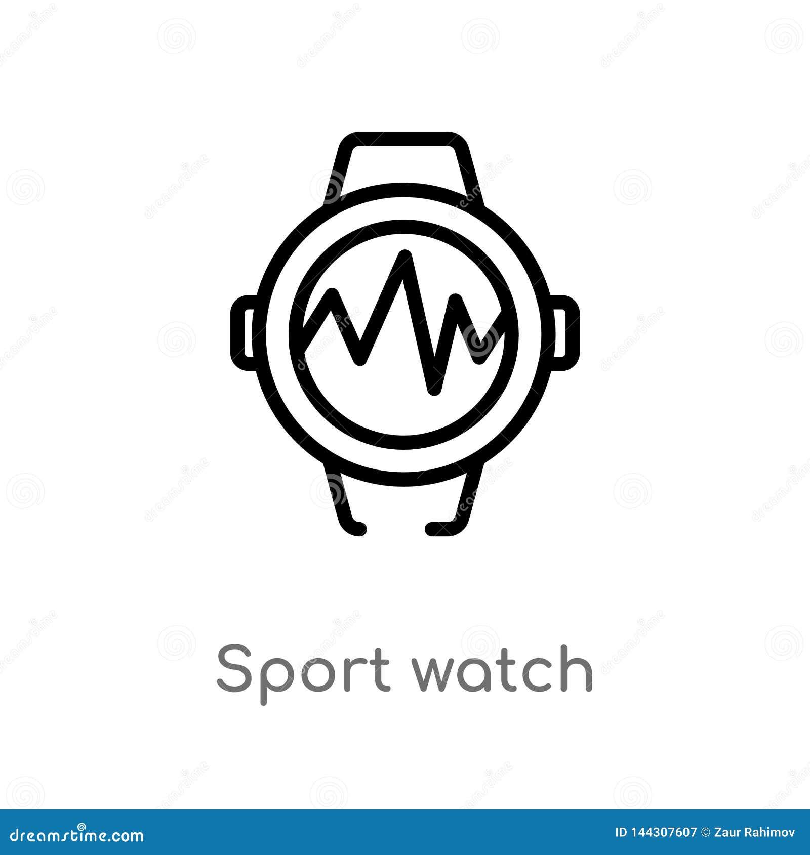 Konturu sporta zegarka wektoru ikona odosobniona czarna prosta kreskowego elementu ilustracja od gym i sprawno?ci fizycznej poj?c