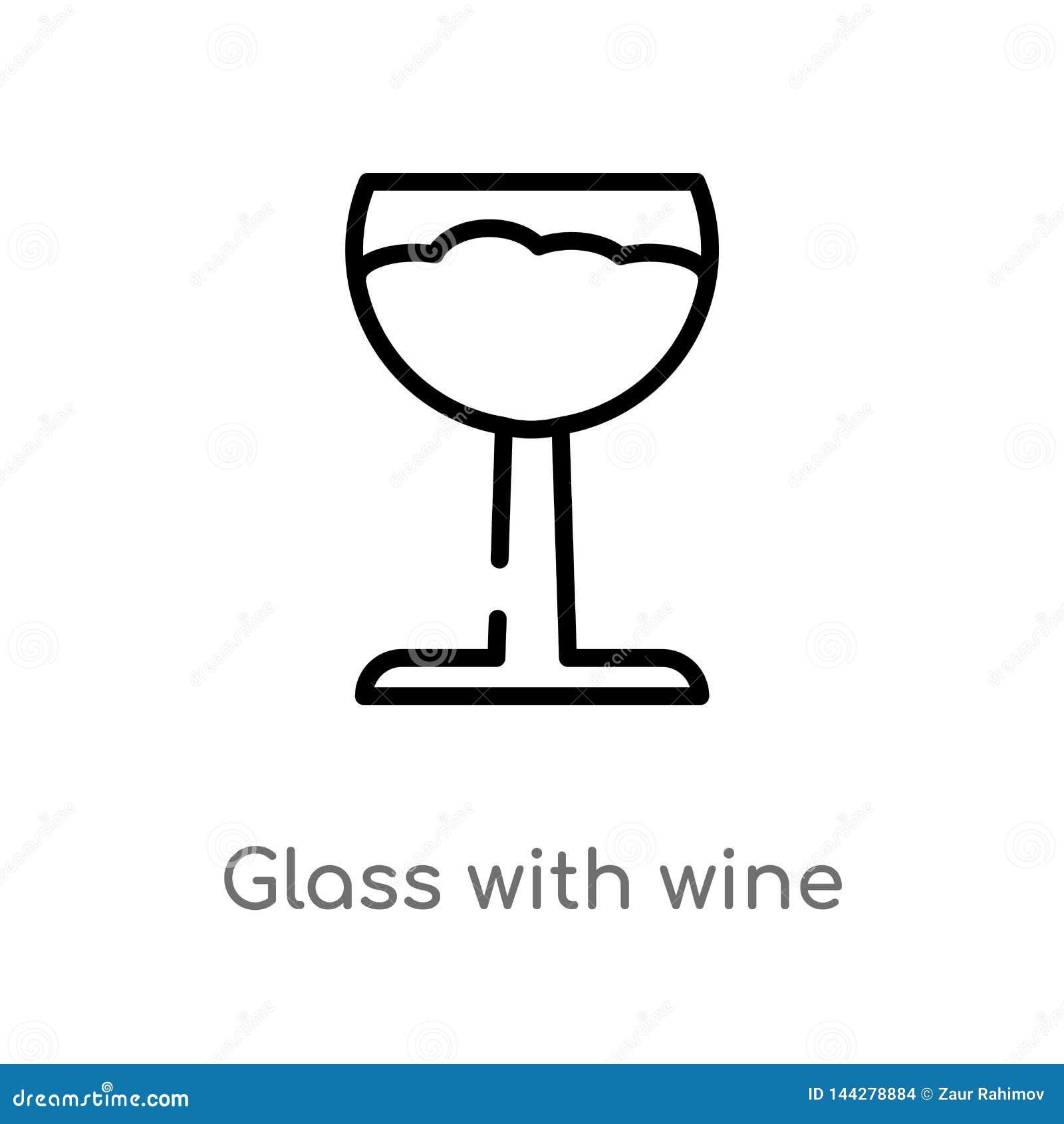 Konturu szkło z wino wektoru ikoną odosobniona czarna prosta kreskowego elementu ilustracja od napoju pojęcia Editable wektorowy