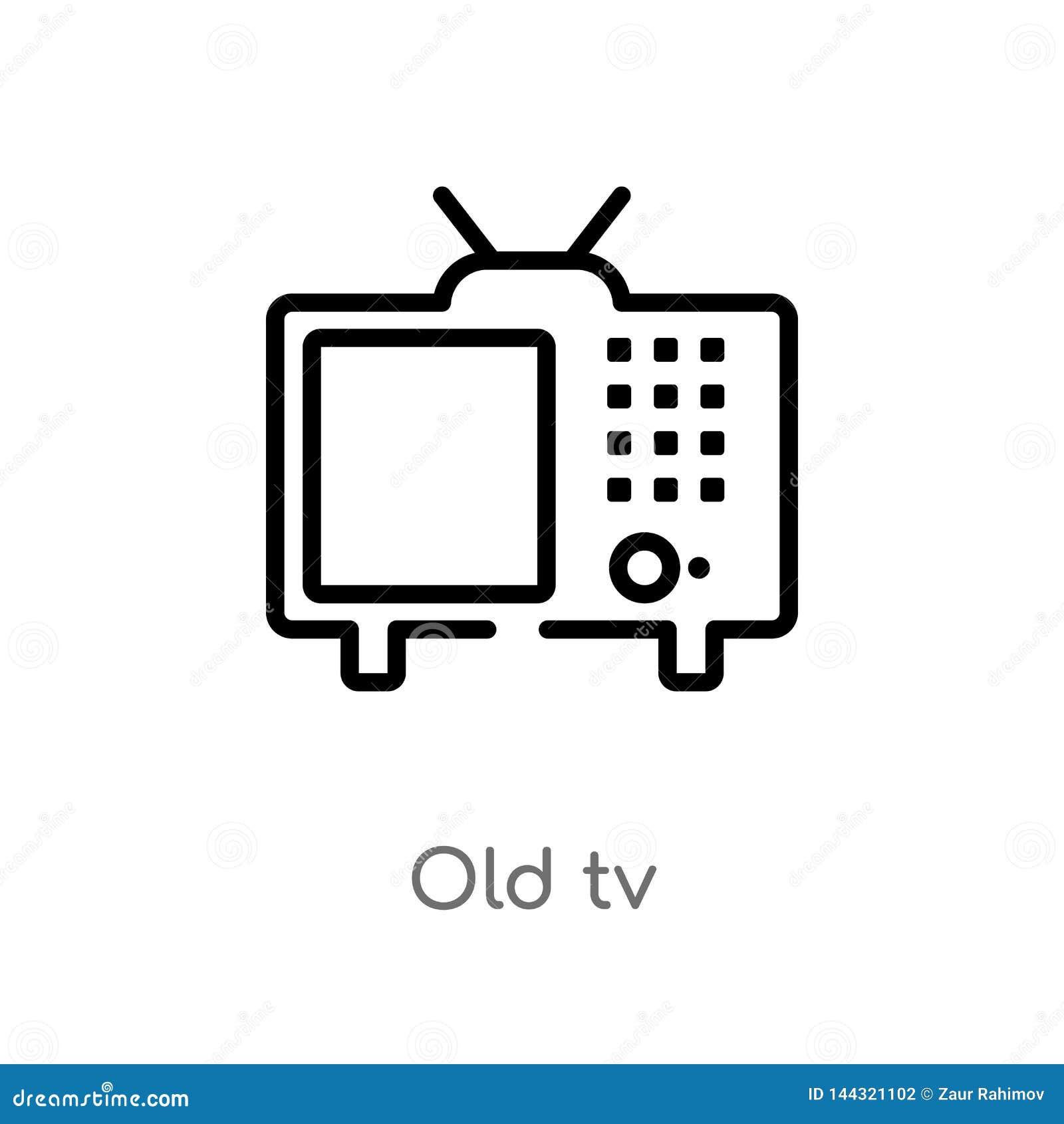 Konturu tv wektoru stara ikona odosobniona czarna prosta kreskowego elementu ilustracja od technologii pojęcia editable wektorowy