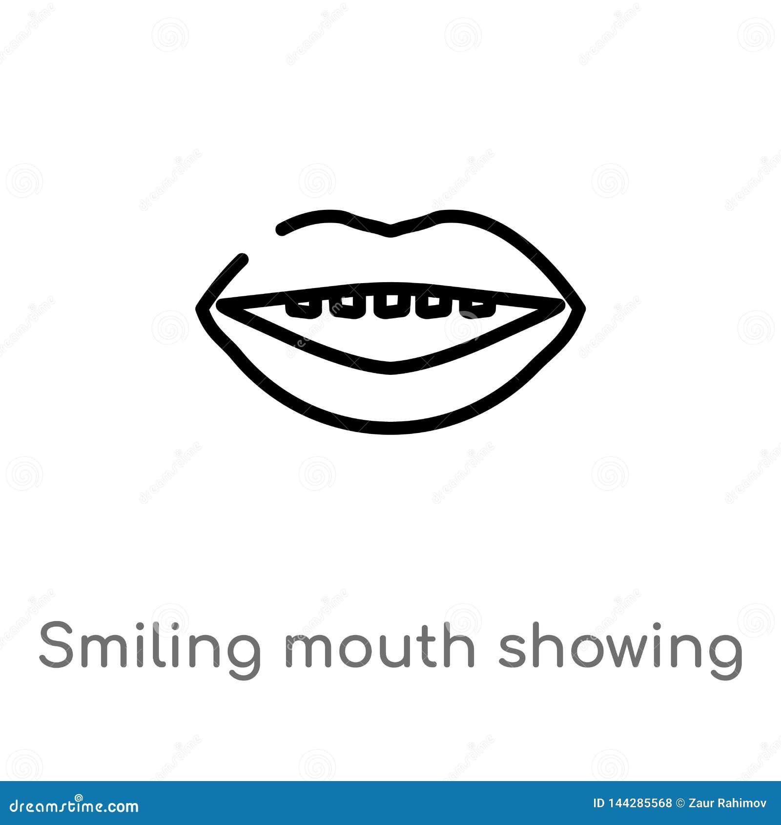 Konturu u?miechni?ty usta pokazuje z?bu wektoru ikon? odosobniona czarna prosta kreskowego elementu ilustracja od cia?o ludzkie c