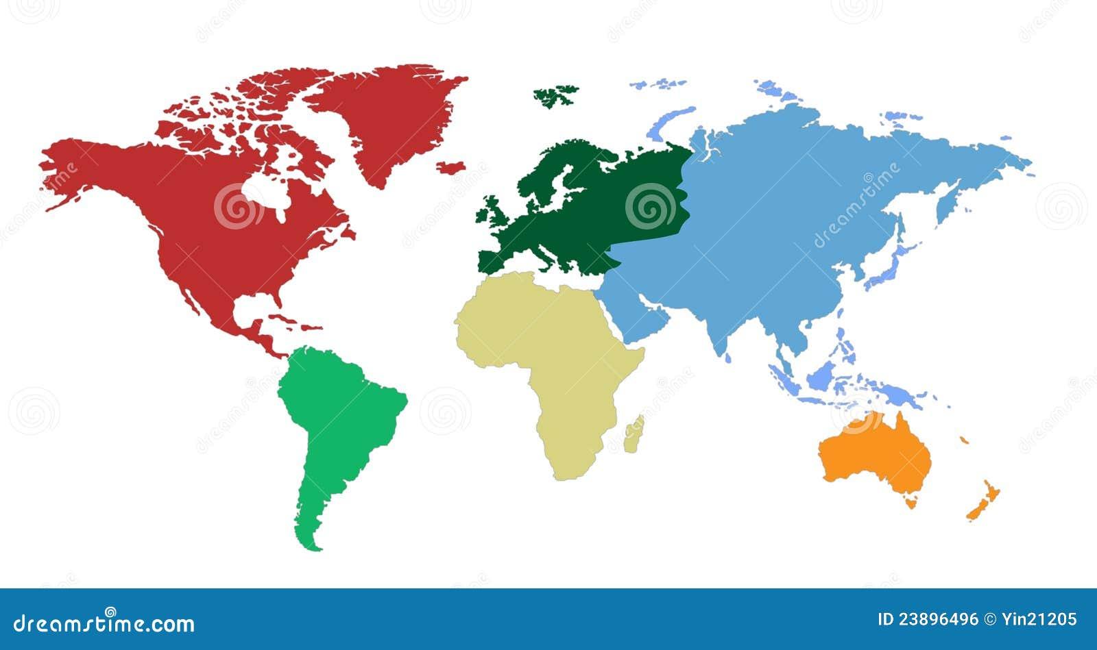 Kontynentów mapy świat