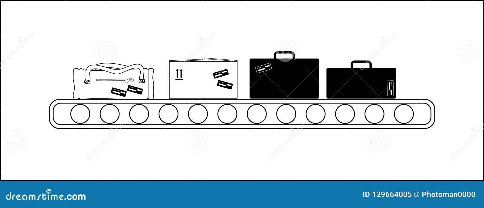Konwejer w lotniskowego transportu lampasie