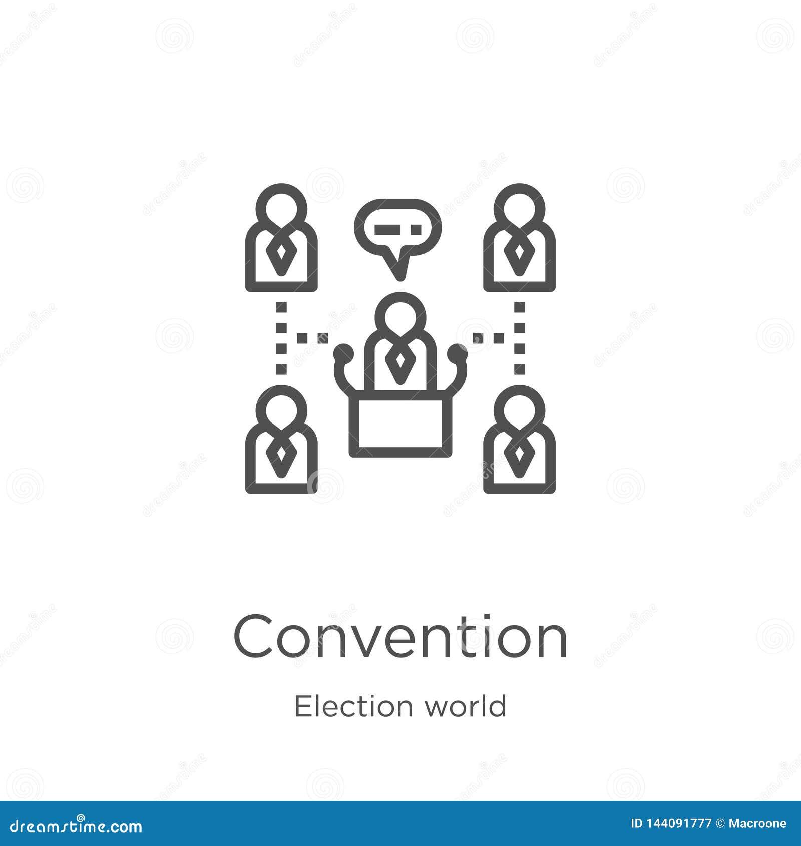 Konwencji ikony wektor od wybory światu kolekcji Cienka kreskowa konwencja konturu ikony wektoru ilustracja Kontur, cienieje lini
