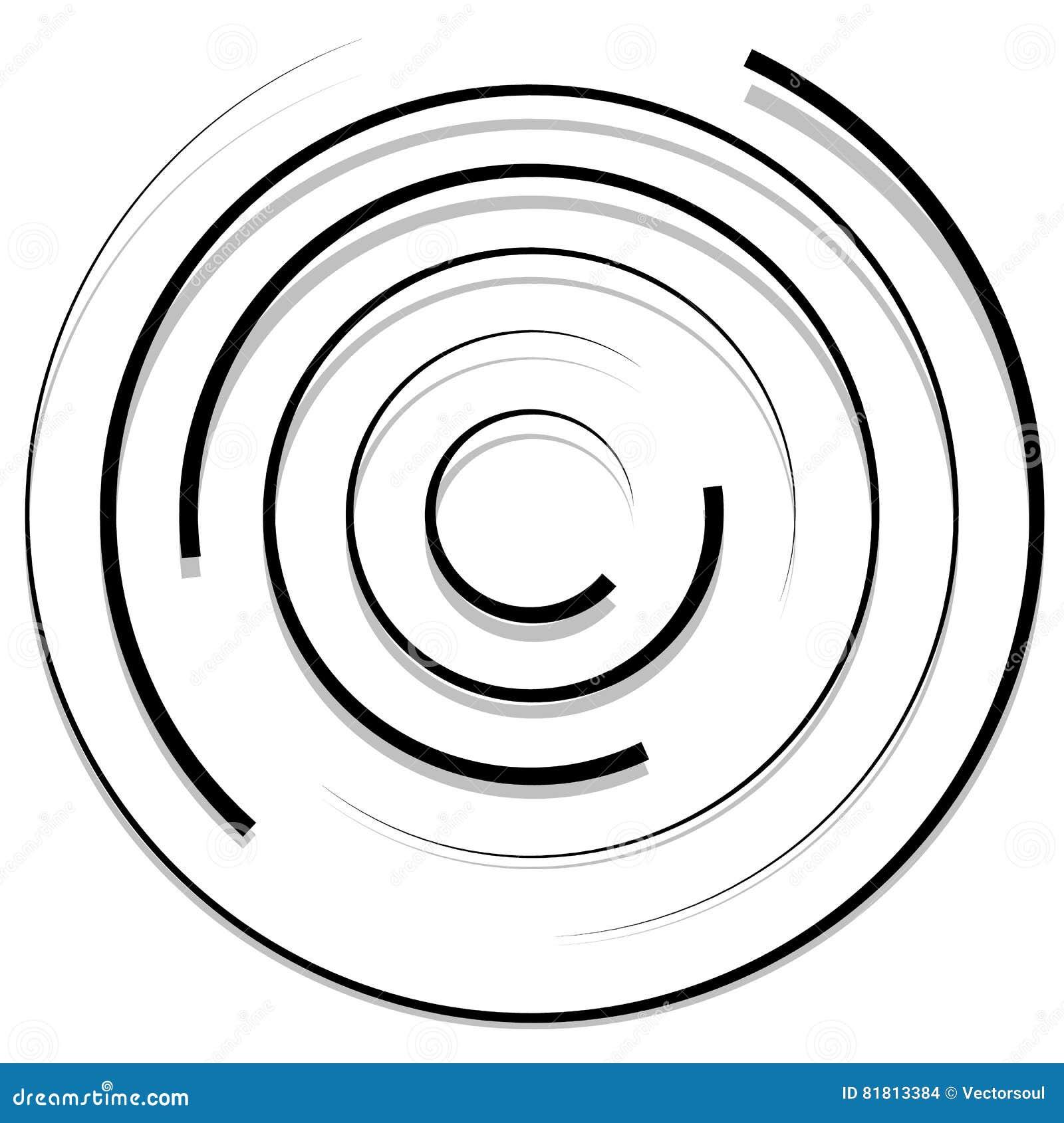 Konzentrische gelegentliche Kreise mit dynamischen Linien Rundschreibenspirale, s