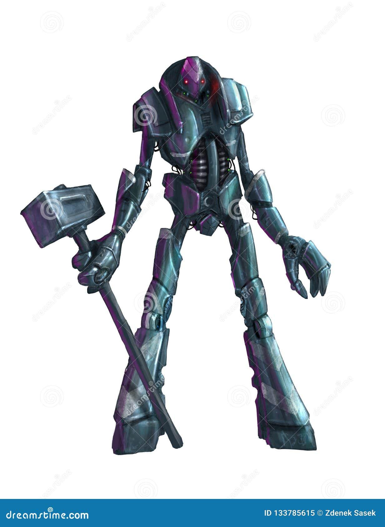 Konzept Art Painting des lokalisierten Humanoid Roboters mit Hammer