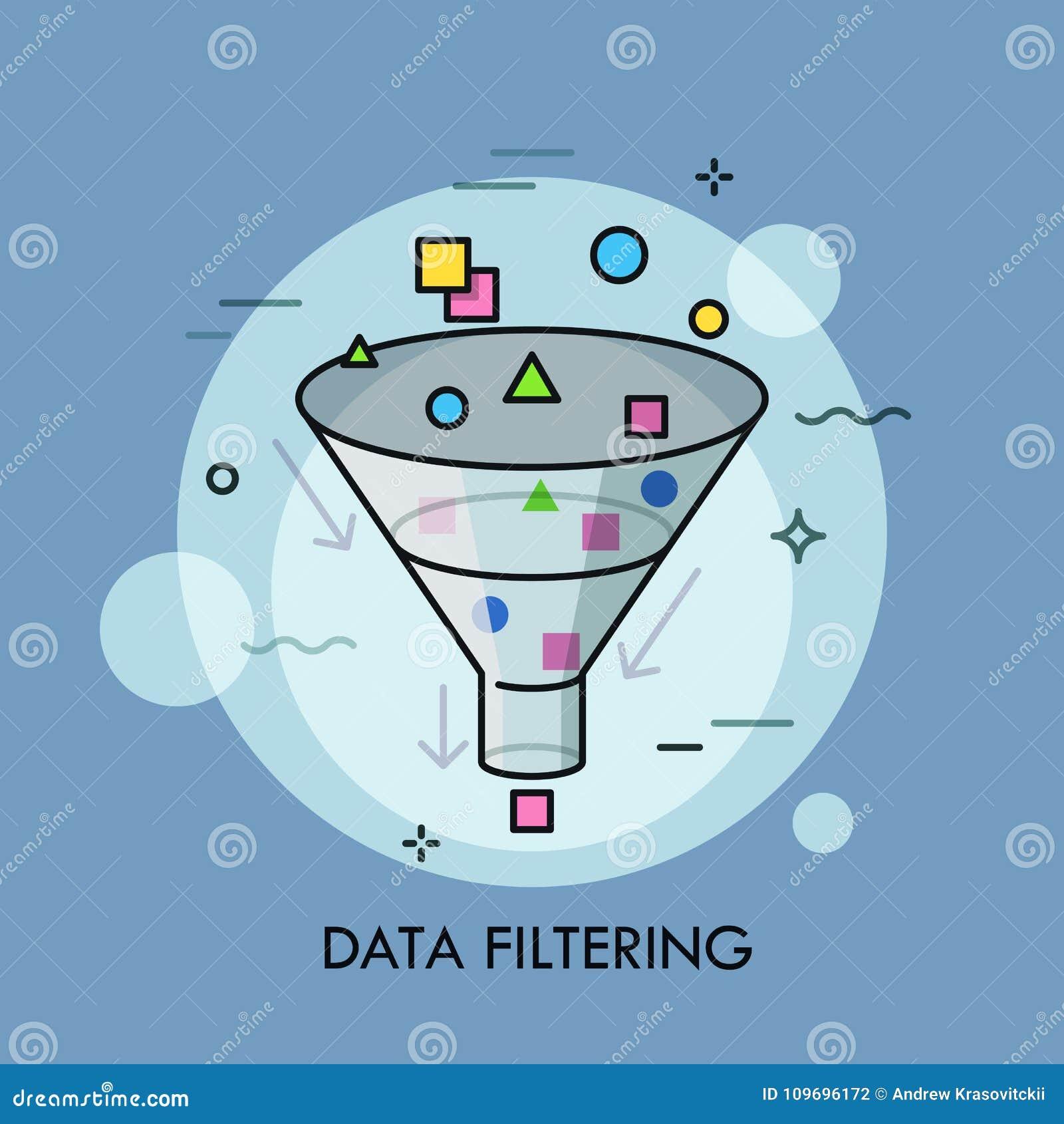 Konzept der Entstörungsder digitalen Daten der Auswahl, elektronischen Informationen und des Sortierens