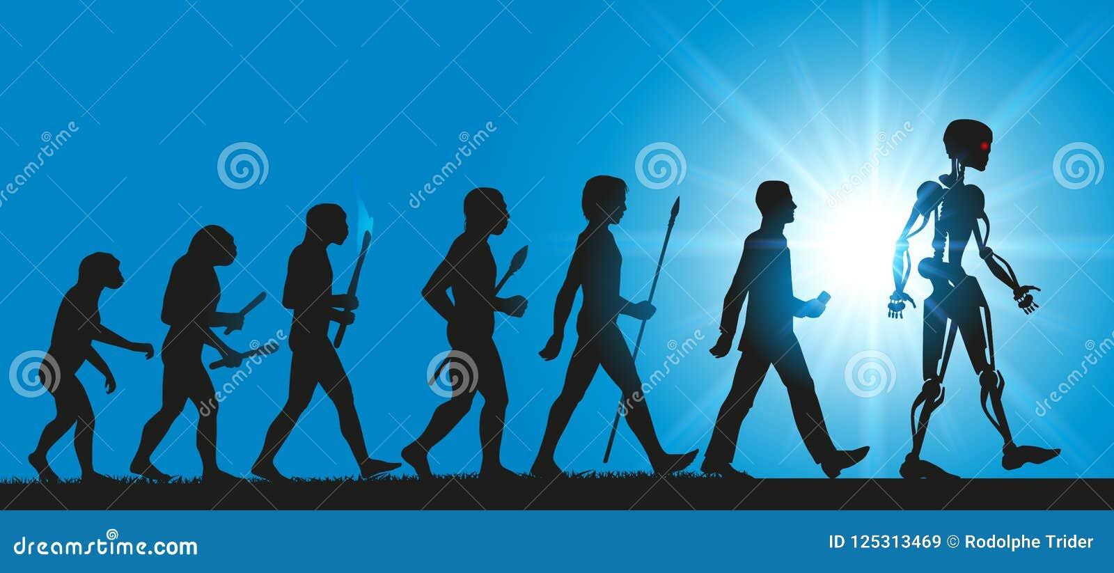 Konzept der Entwicklung von Menschlichkeit in Richtung in Richtung den Robotern und zur künstlichen Intelligenz