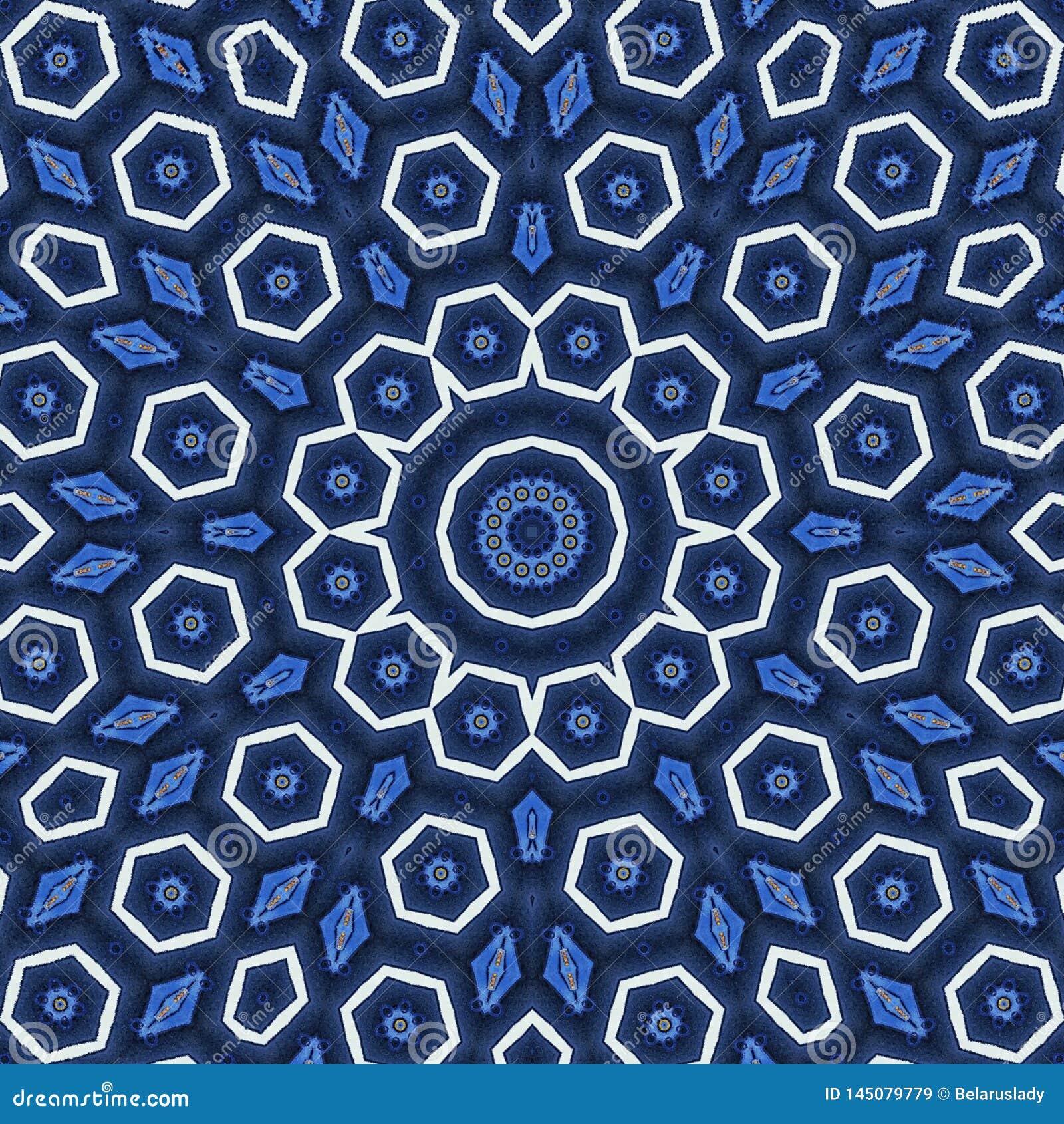 Konzept der Freiheit, Arabeskenmandalaverzierung in den blauen und weißen sechseckigen Elementen