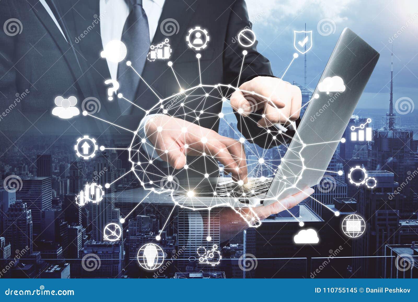 Konzept der künstlichen Intelligenz und der Teamwork