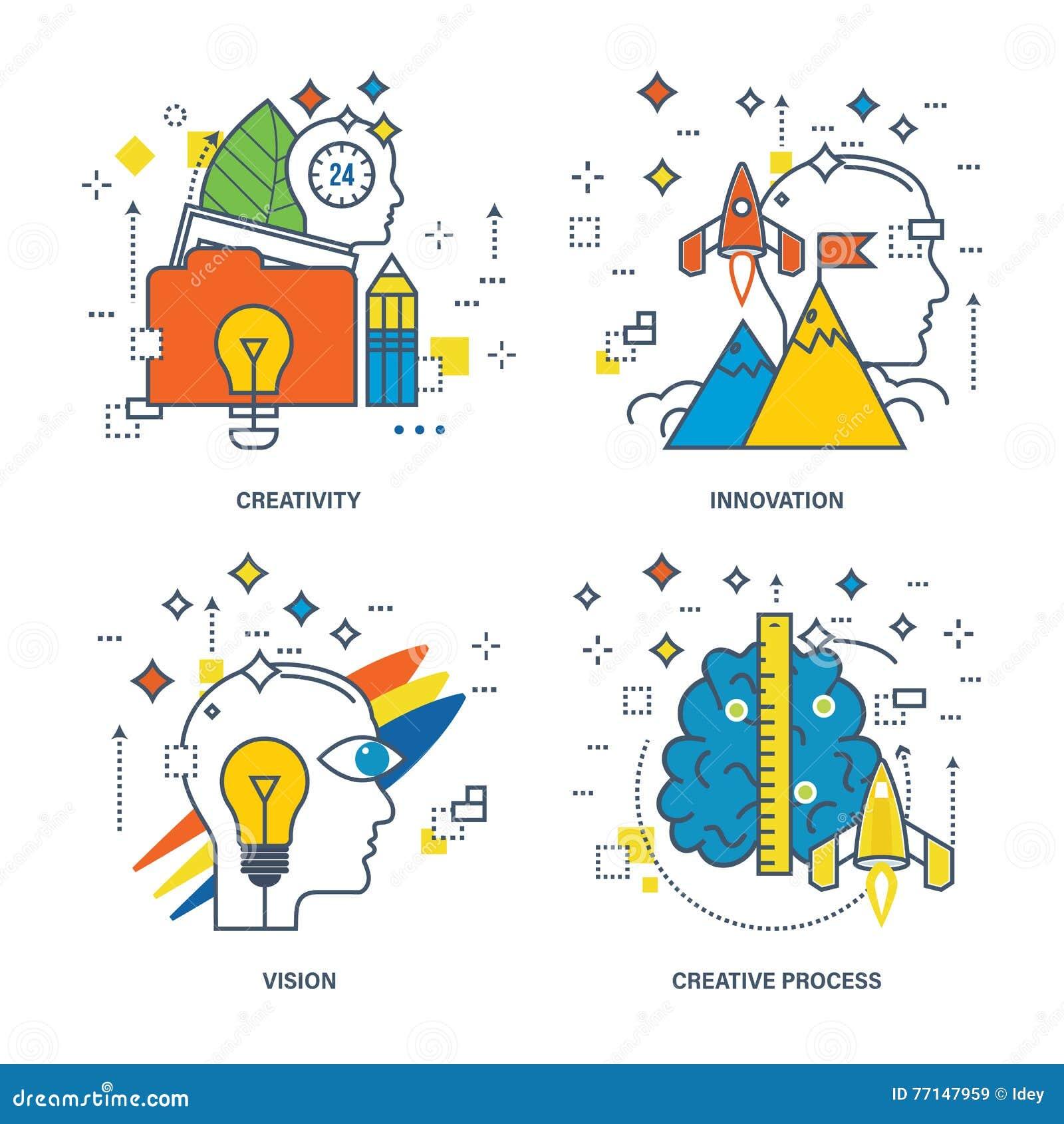 Konzept Der Kreativität, Innovation, Vision, Kreativer Prozess ...