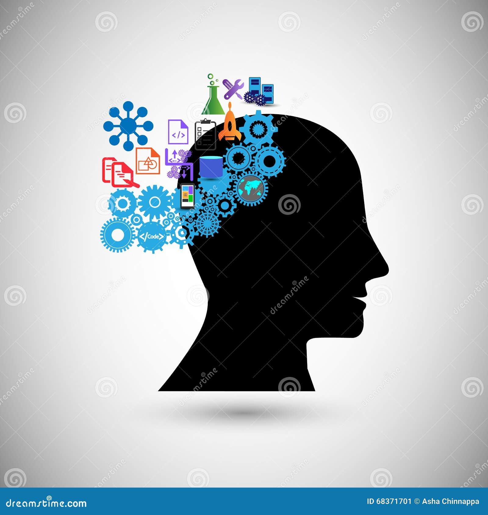 Konzept der menschlichen Intelligenz, das stürmende Gehirn, Gewinnwissen, veranschaulicht auch Konzept des menschlichen Denkens,