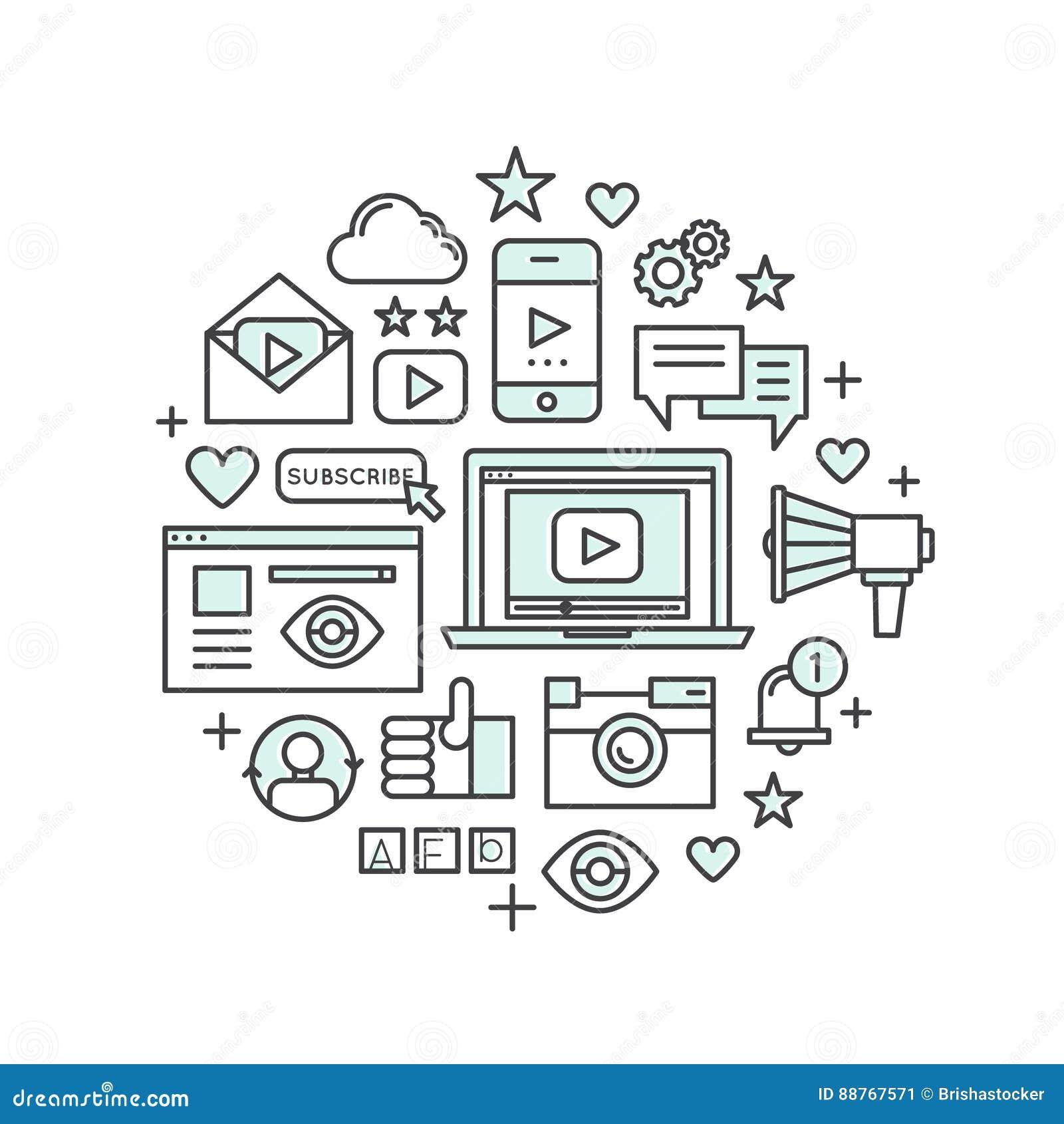 Konzept der Multimedia-Anwendung, des Boten, des Videos und des Musik-Spielers, Widget des Sozialen Netzes, wie, Anerkennung