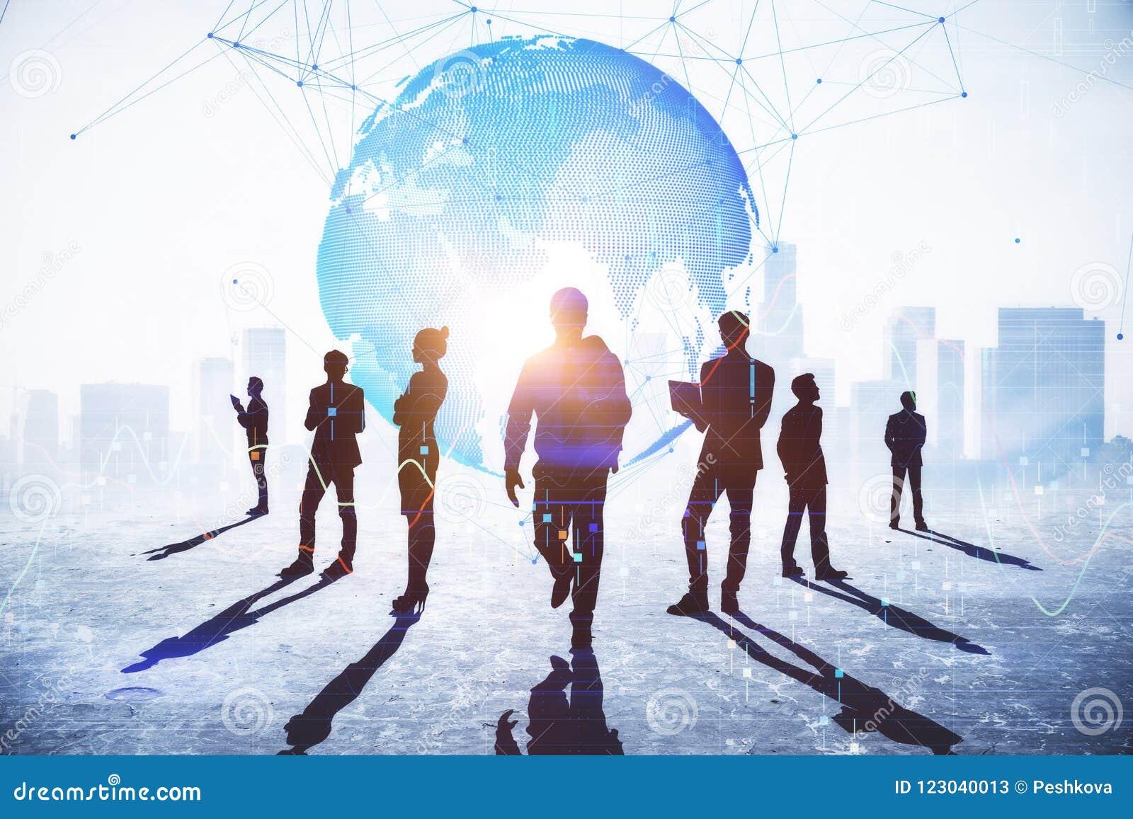 Konzept der Teamwork, der Verbindung und des globalen Geschäfts