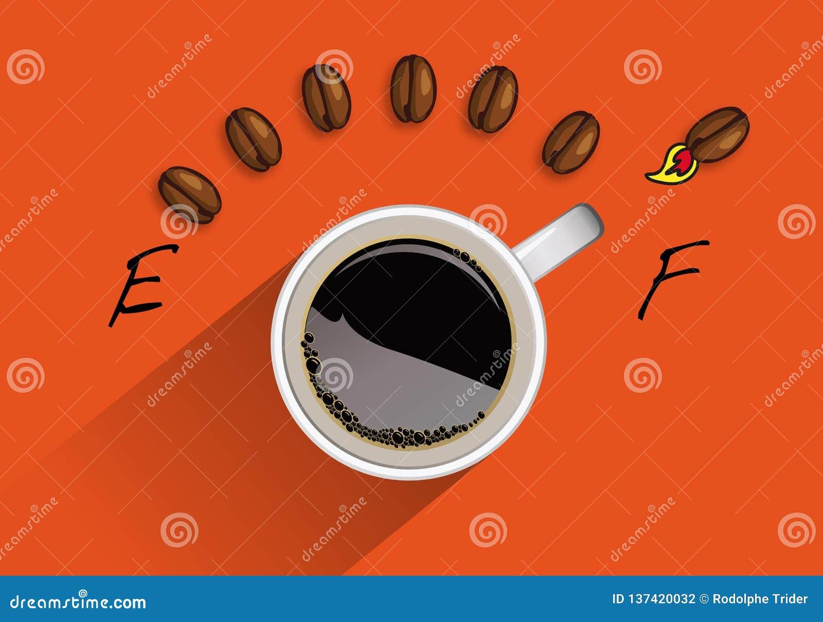 Konzept der vollen Energie mit einem geformten Behälterzähler des Tasse Kaffees