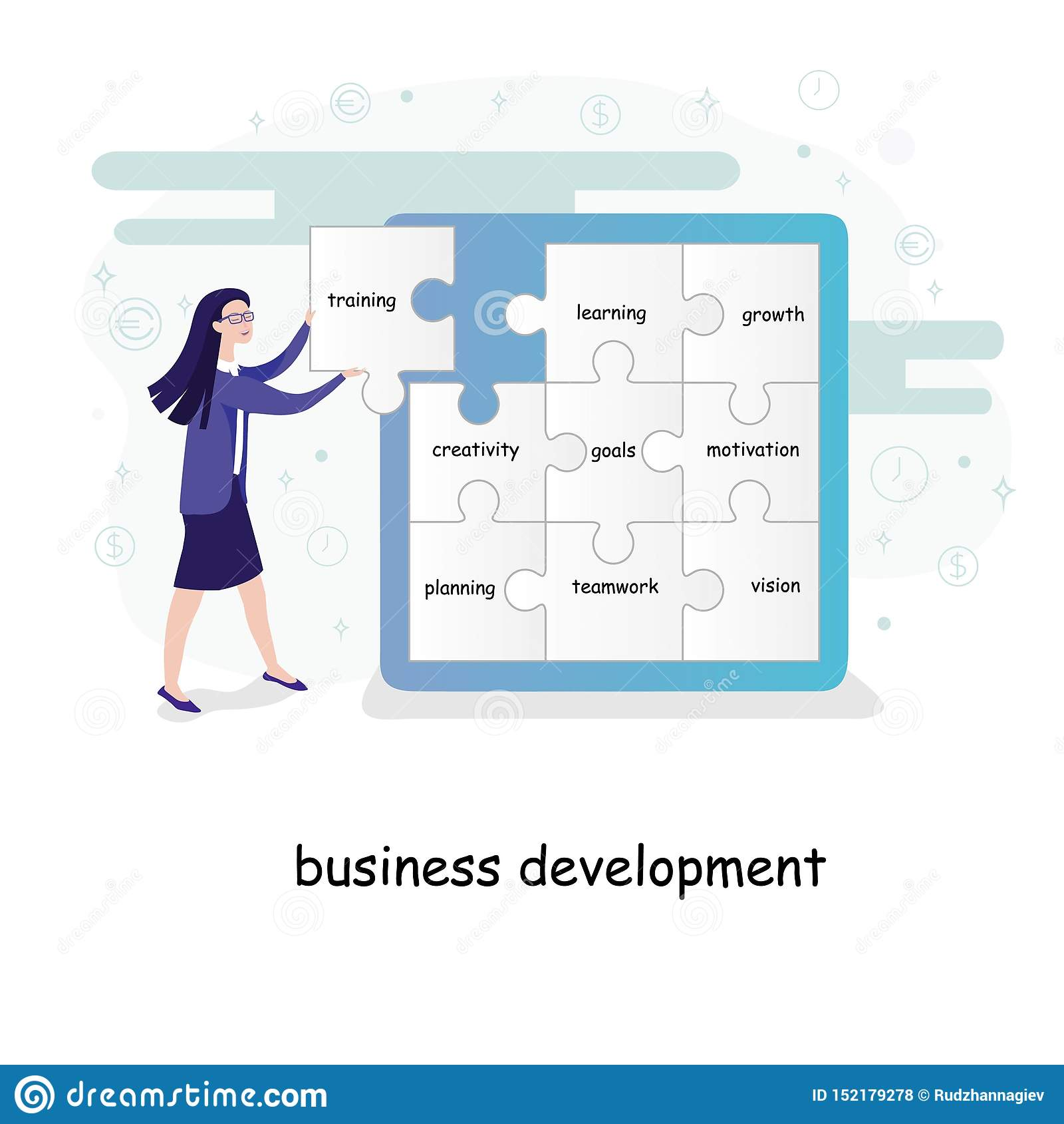 Konzept der wirtschaftlichen Entwicklung mit einer jungen Geschäftsfrau, die Puzzlespielstücke mit Text auf eine Wand setzt