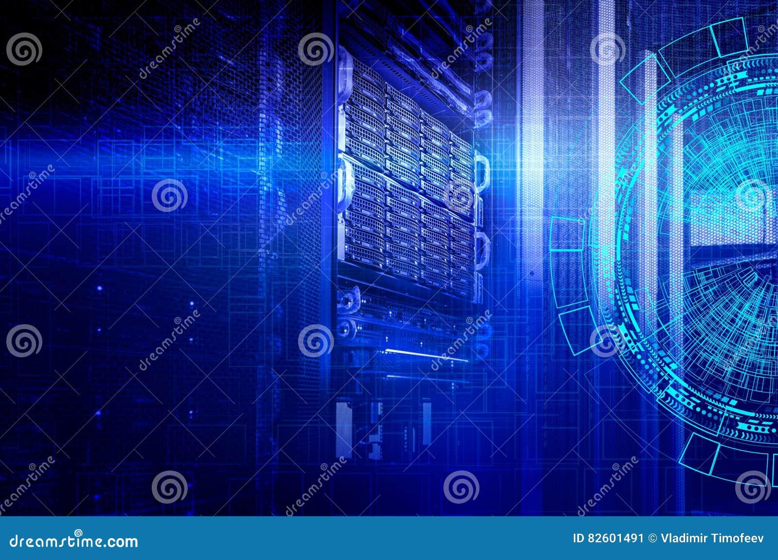 Konzept des Magnetplattenspeicher-Rechenzentrums Informationstechnologie und Datenbank auf technologischem Hintergrund