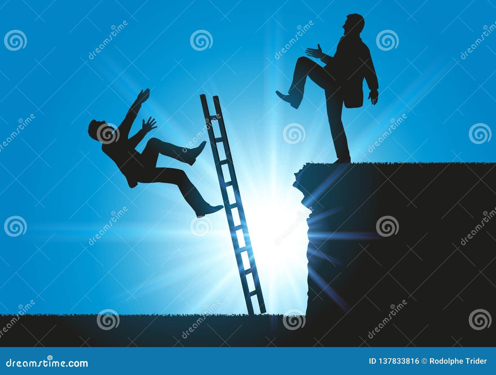 Konzept eines Lehnsessels für zwei mit einem Mann, der seinen Konkurrenten in die Lücke drückt