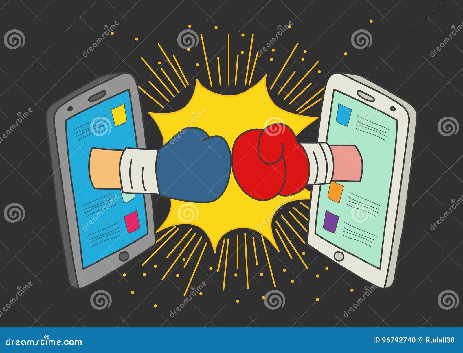 Konzept Für Social Media-Kampf Vektor Abbildung - Illustration von ...