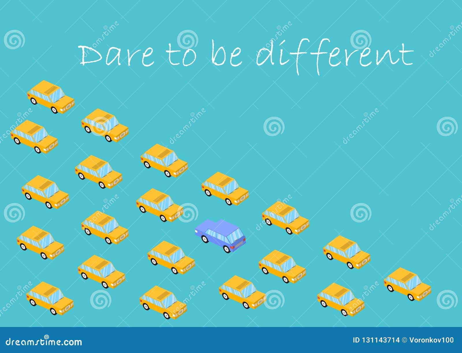 Konzept Herausforderung, zum unterschiedlich zu sein Grafikauto Ändern Sie nicht andere, sich ändern Vektor, Mut, Glaube, Ausdaue