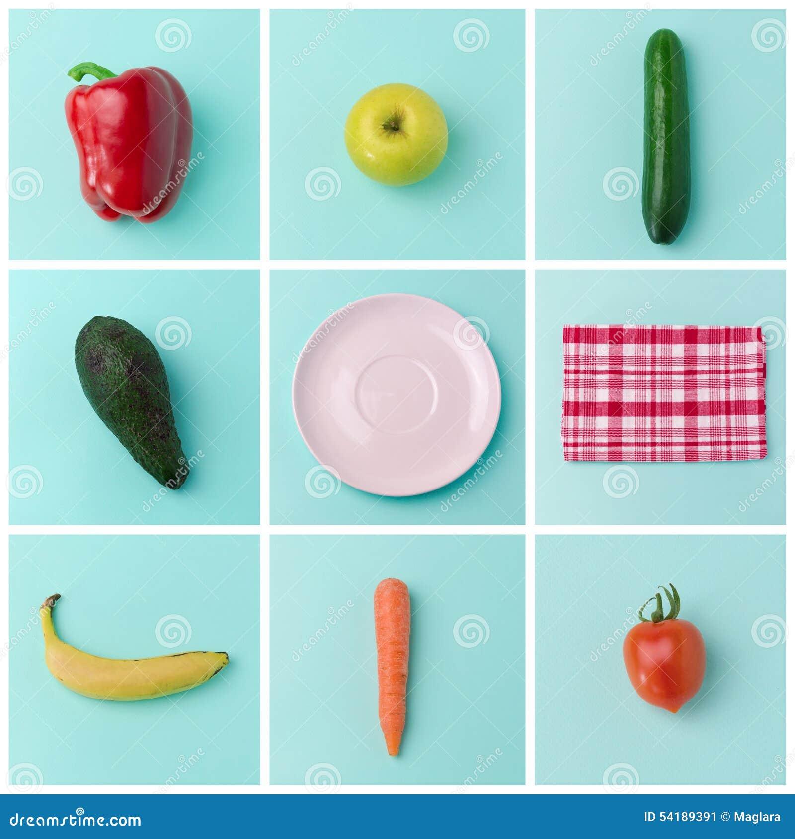 Konzept-Plakatdesign der gesunden Ernährung mit Obst und Gemüse