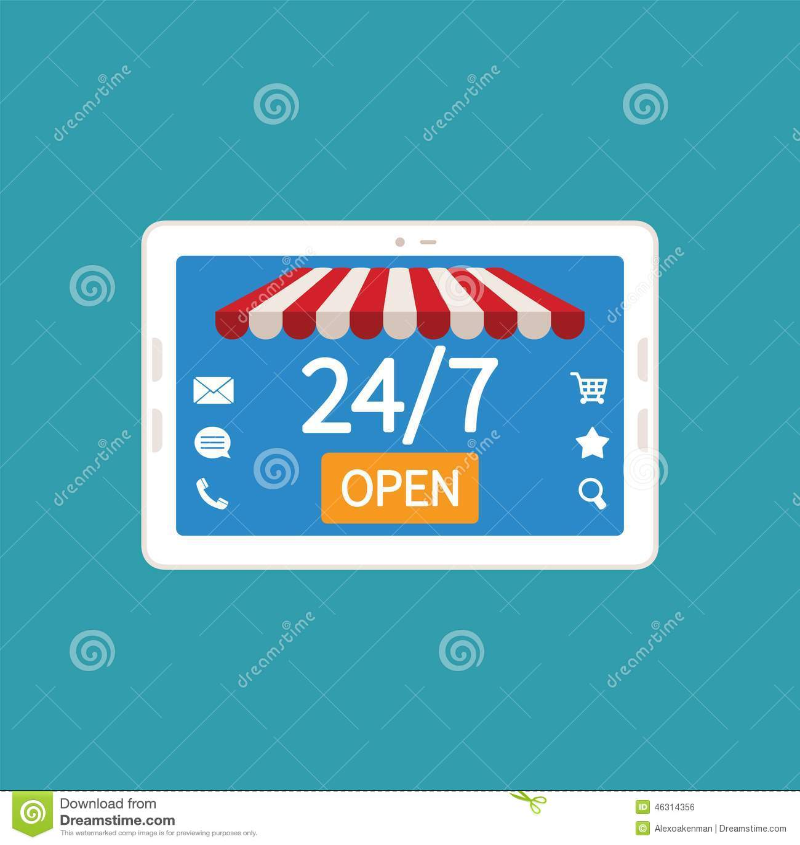 Konzept Tag Und Nacht Des On-line-Shops Auf Modernem ...