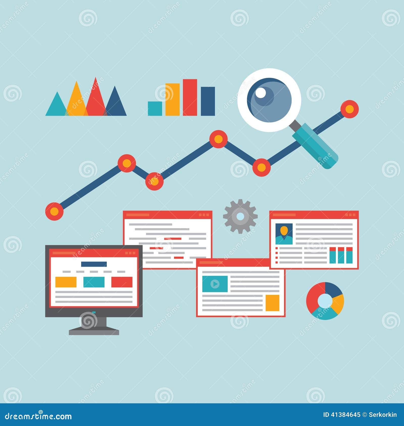 Konzept-Vektor-Illustration in der flachen Design-Art von Netz-Analytik-Informationen