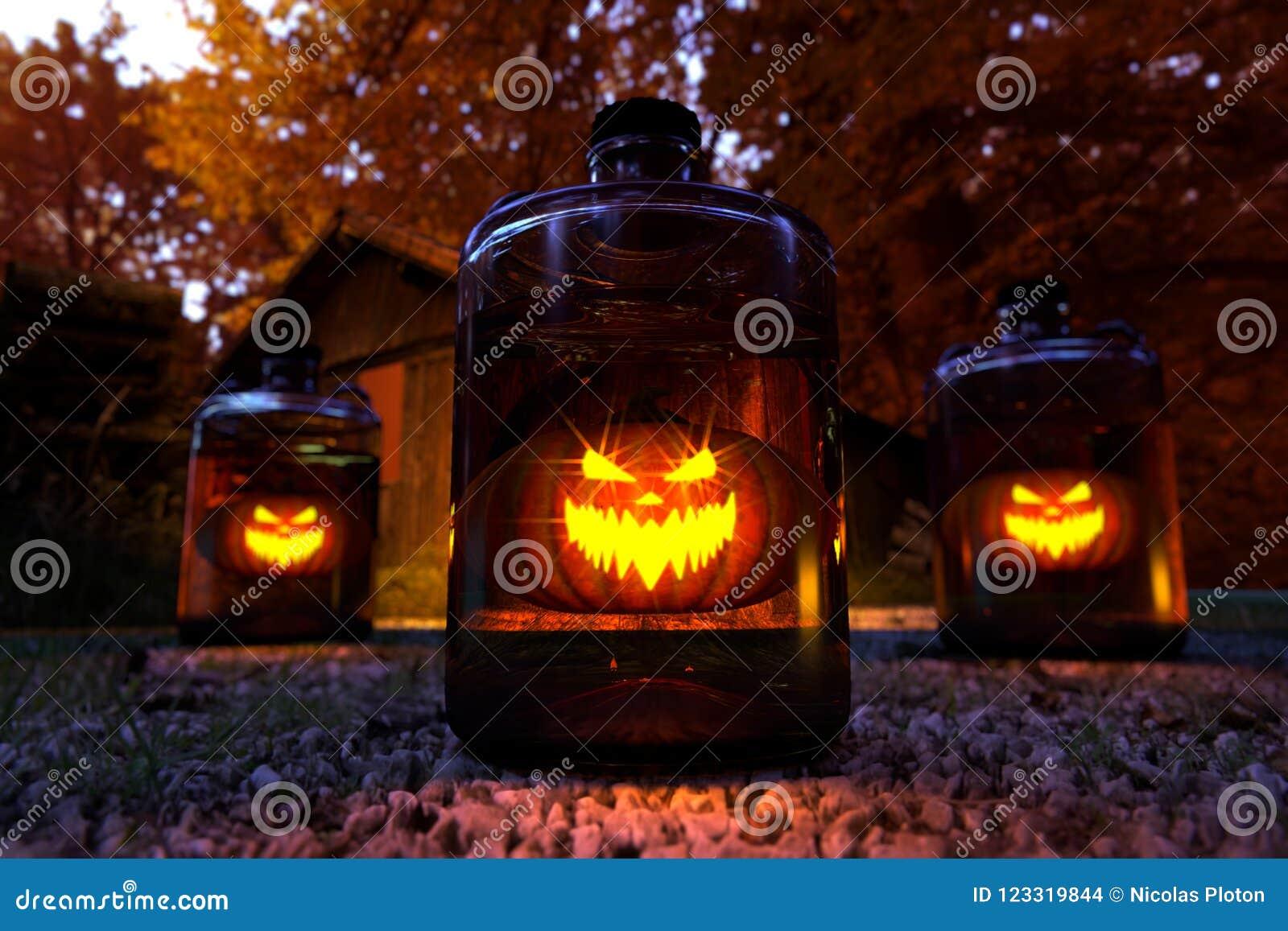 Konzept von Halloween im Wald, Illustration 3d