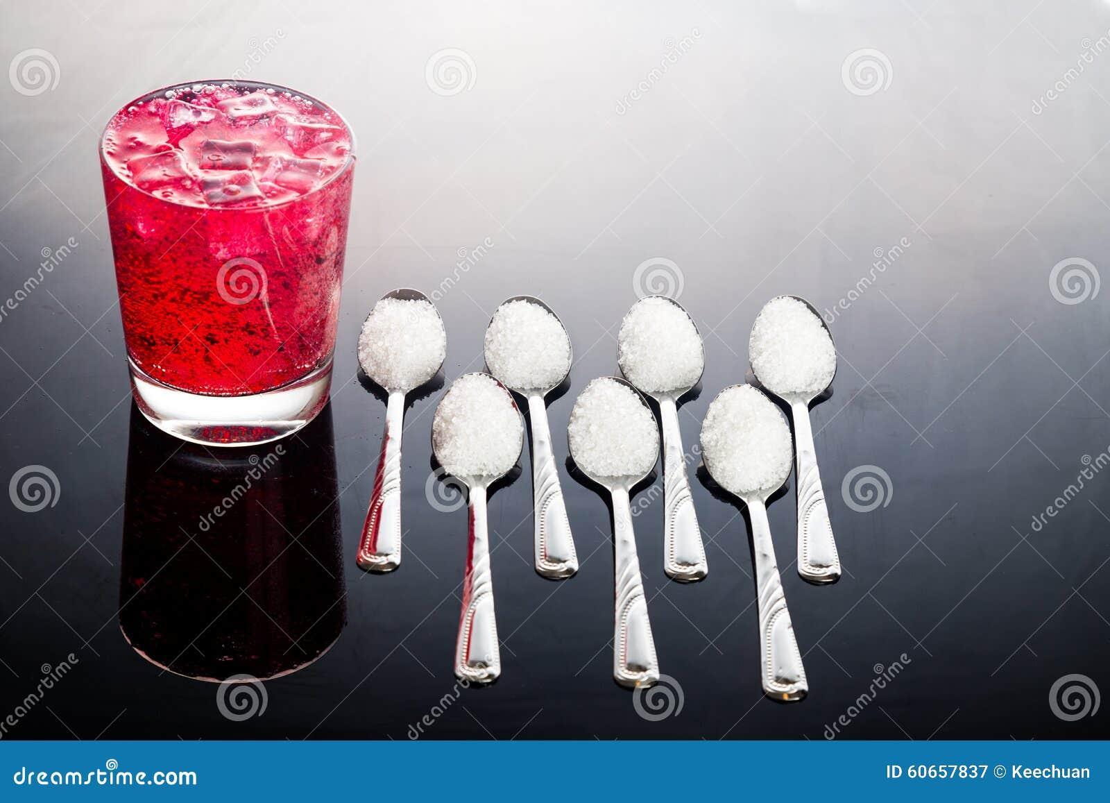 Konzept Von Roten Sprudelnden Getränken Mit Ungesundem Zuckergehalt ...