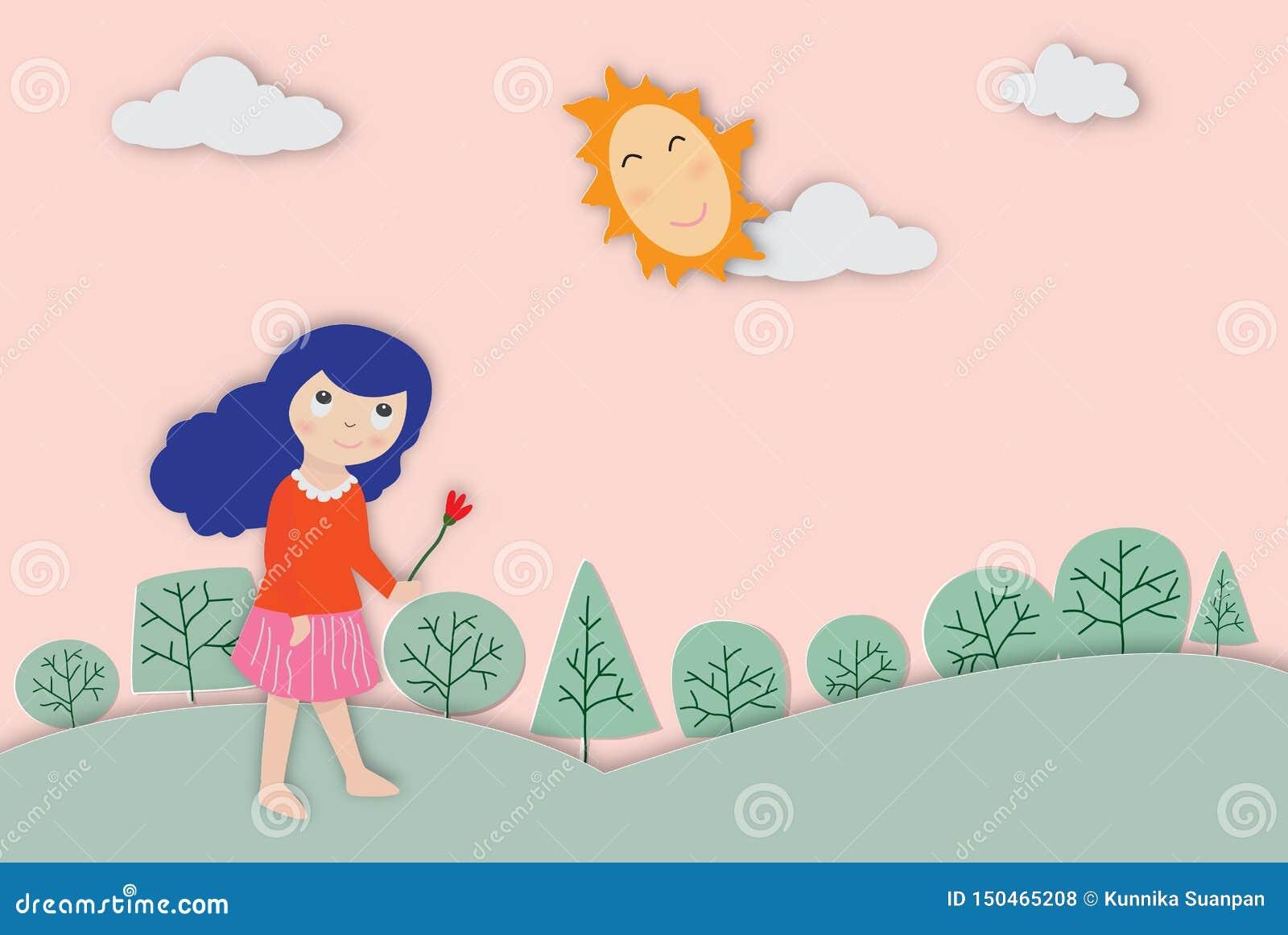 Konzept von Umwelt mit einer netten Mädchenvektorillustration