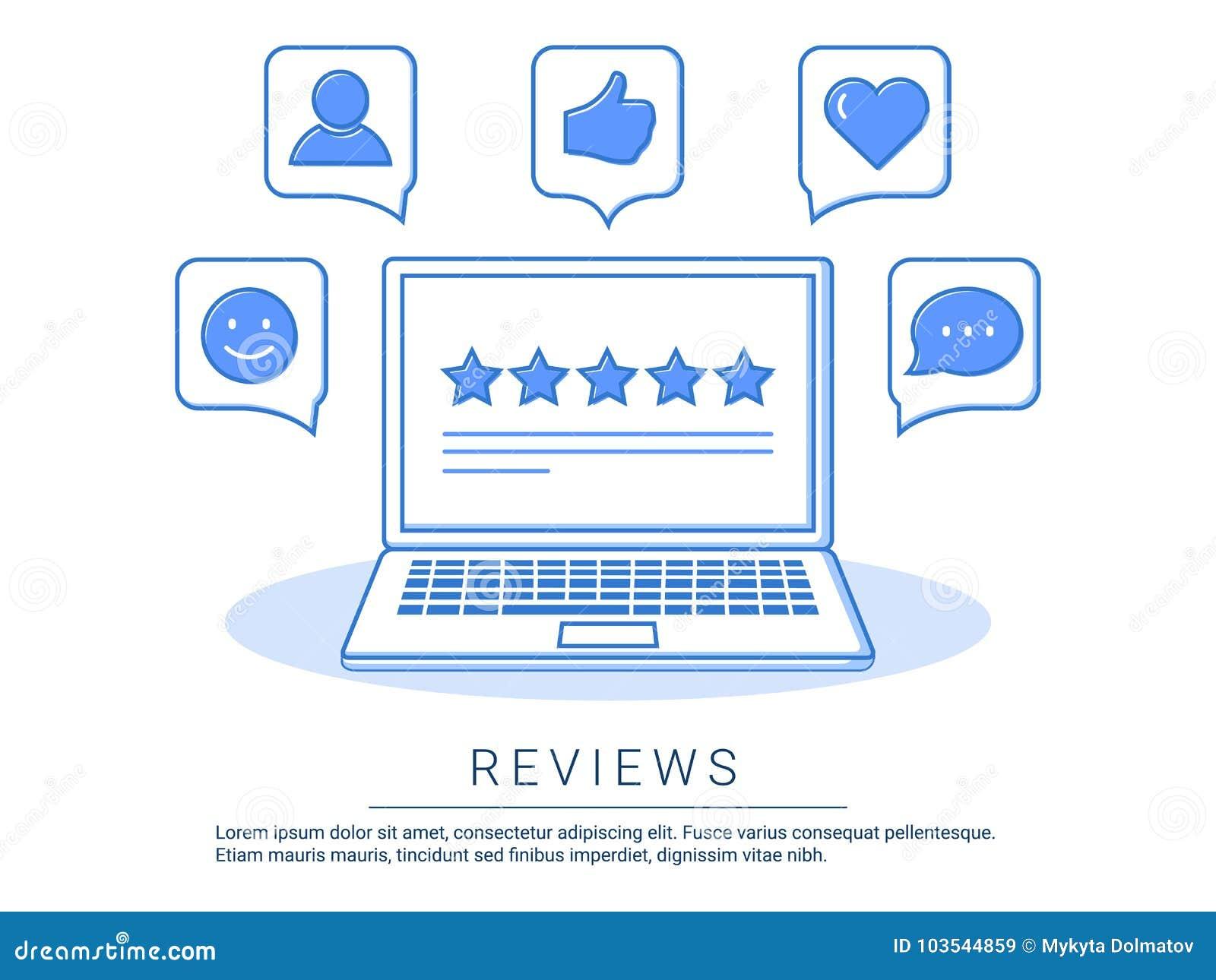 Konzeptillustration - Feedback, Berichte und Bewertungsreferenzen mit wie, Kommunikation Technologieberichte