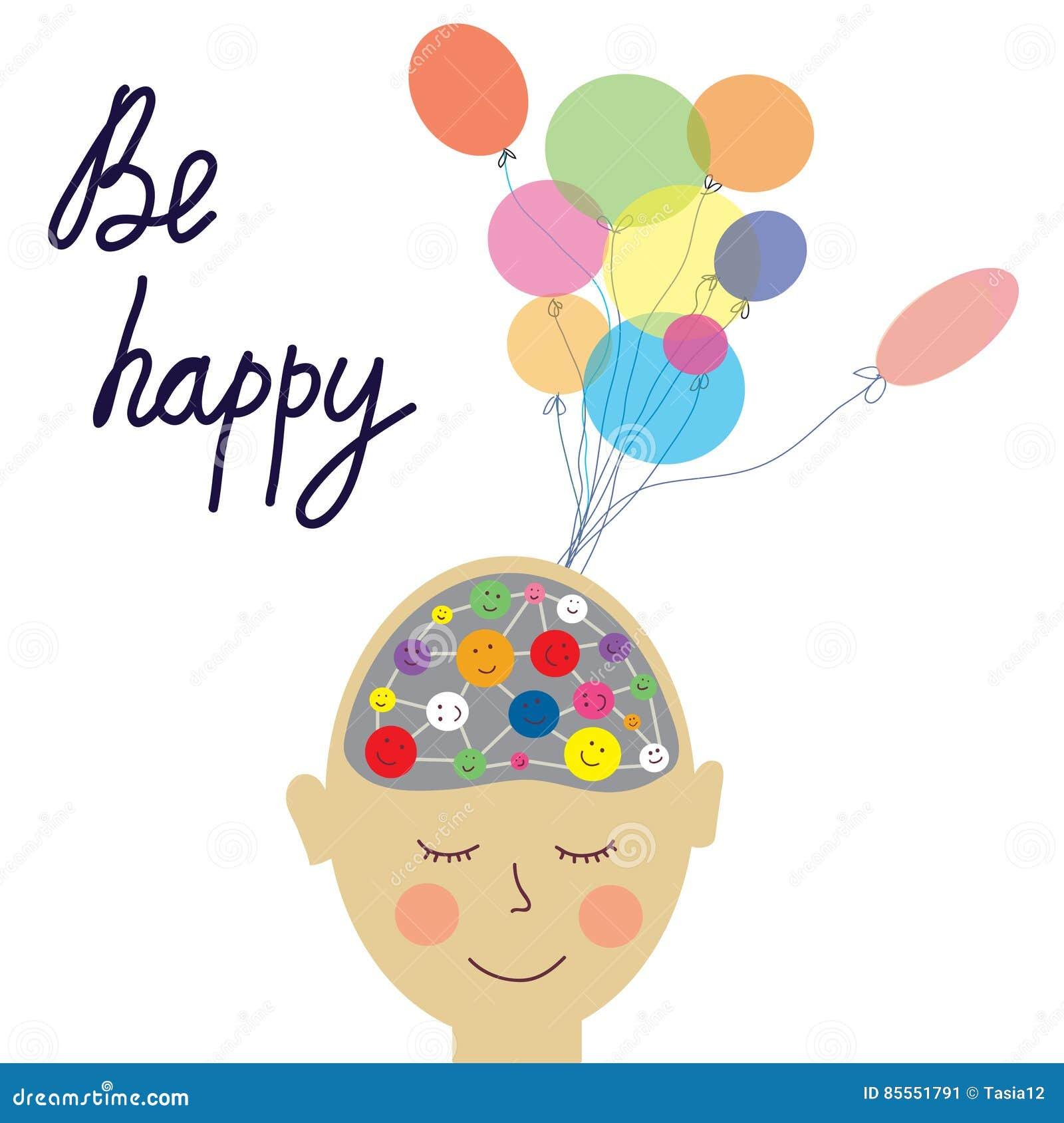 Konzeptkarte des glücklichen Menschen mit Gehirn